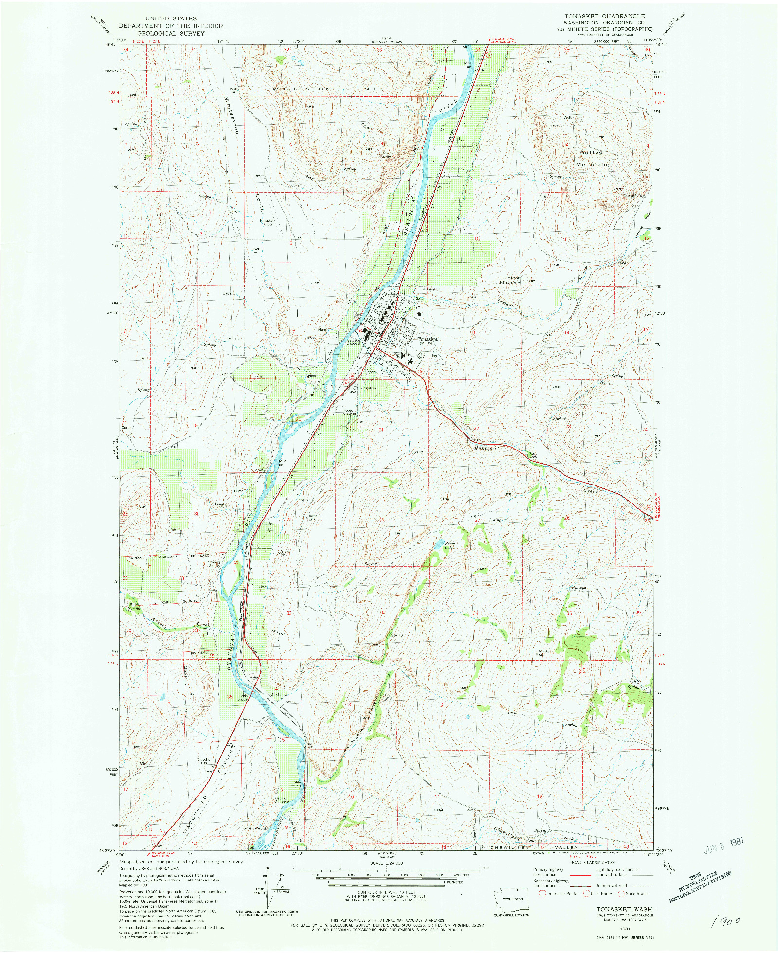 USGS 1:24000-SCALE QUADRANGLE FOR TONASKET, WA 1981