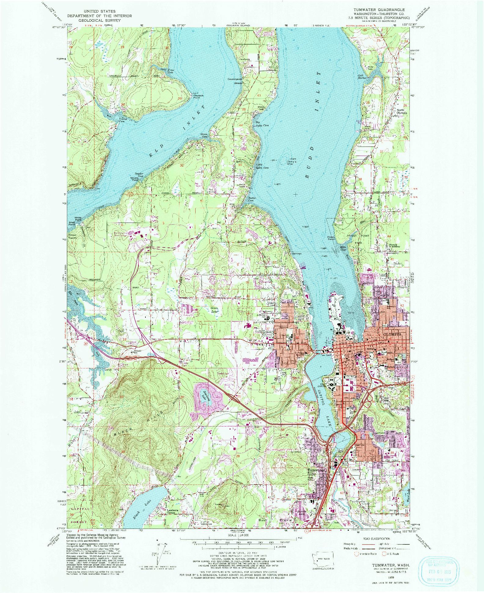 USGS 1:24000-SCALE QUADRANGLE FOR TUMWATER, WA 1959