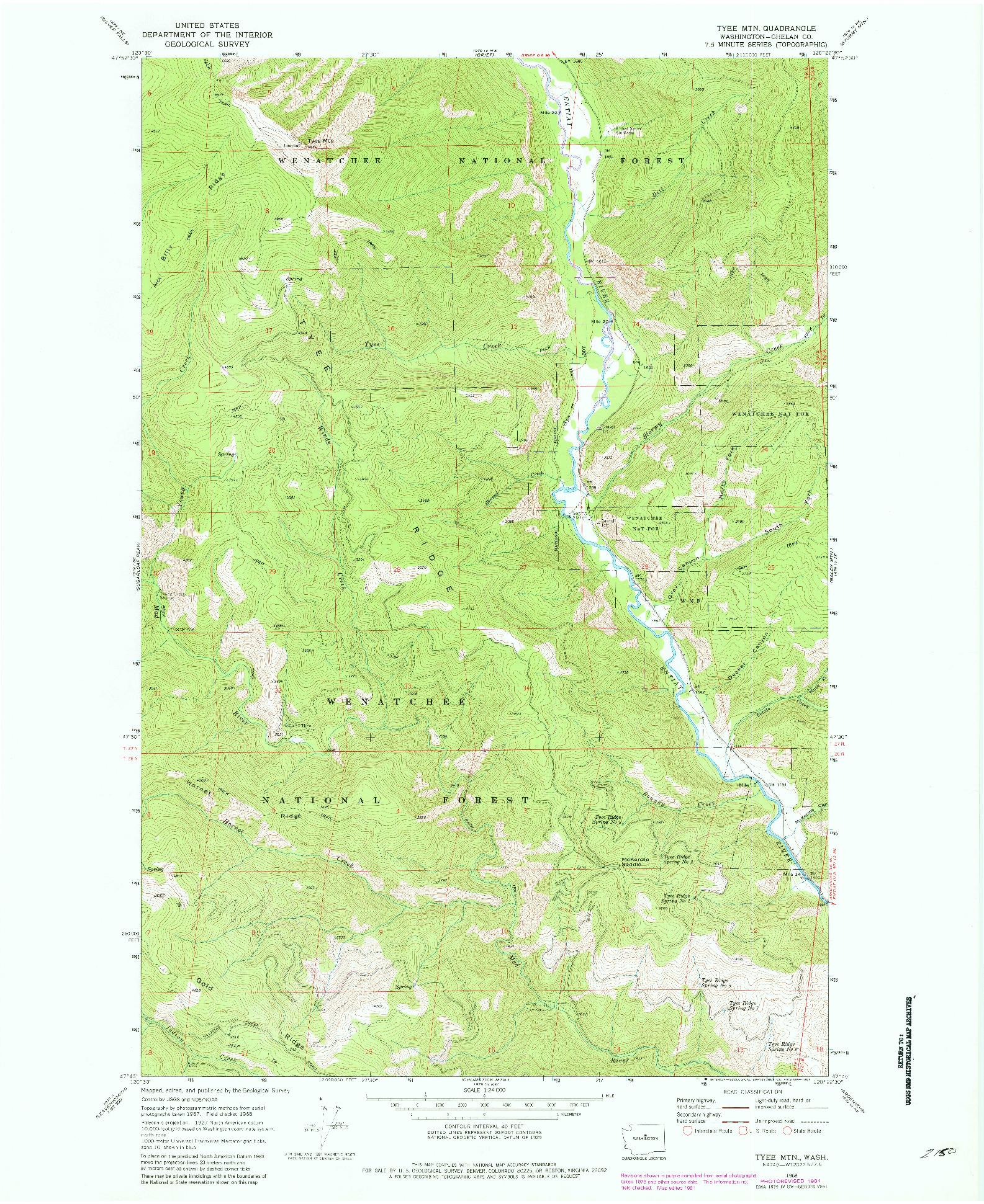 USGS 1:24000-SCALE QUADRANGLE FOR TYEE MTN., WA 1968