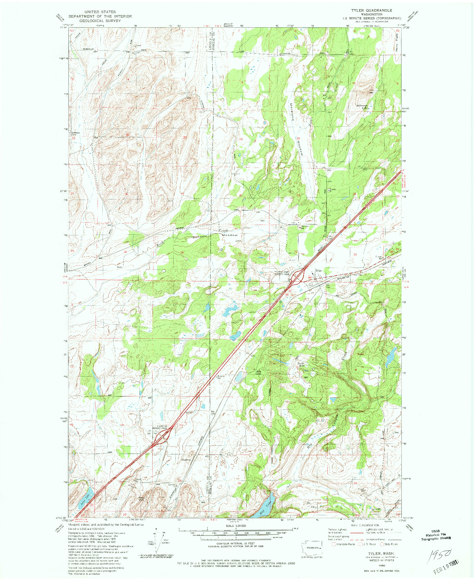 USGS 1:24000-SCALE QUADRANGLE FOR TYLER, WA 1980