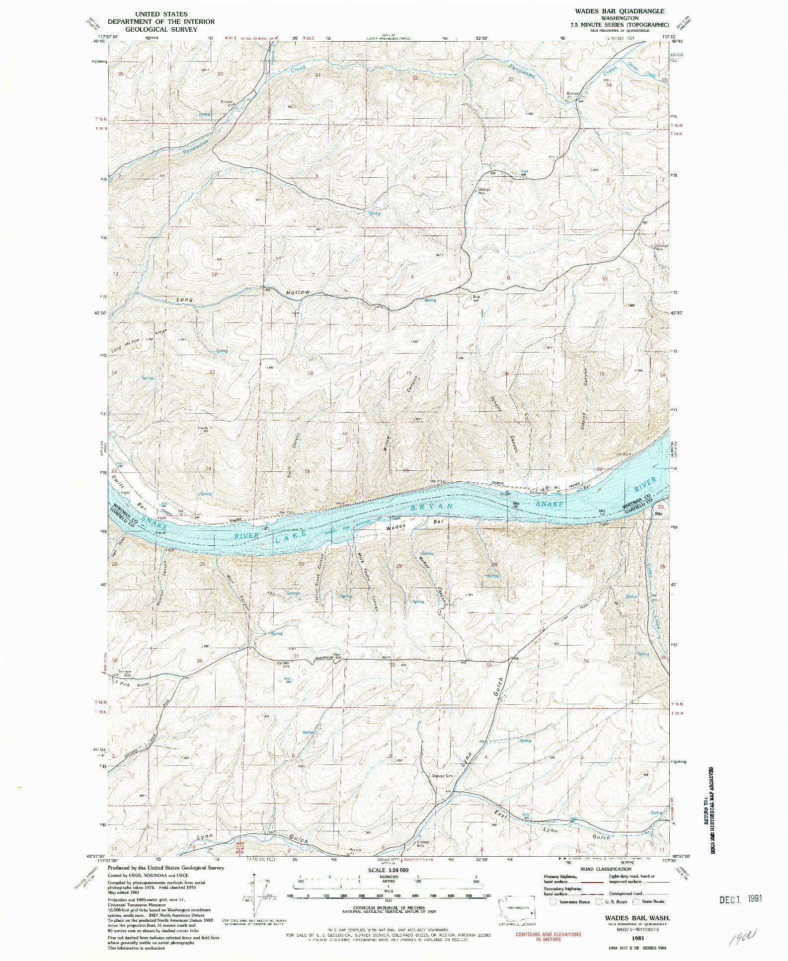 USGS 1:24000-SCALE QUADRANGLE FOR WADES BAR, WA 1981