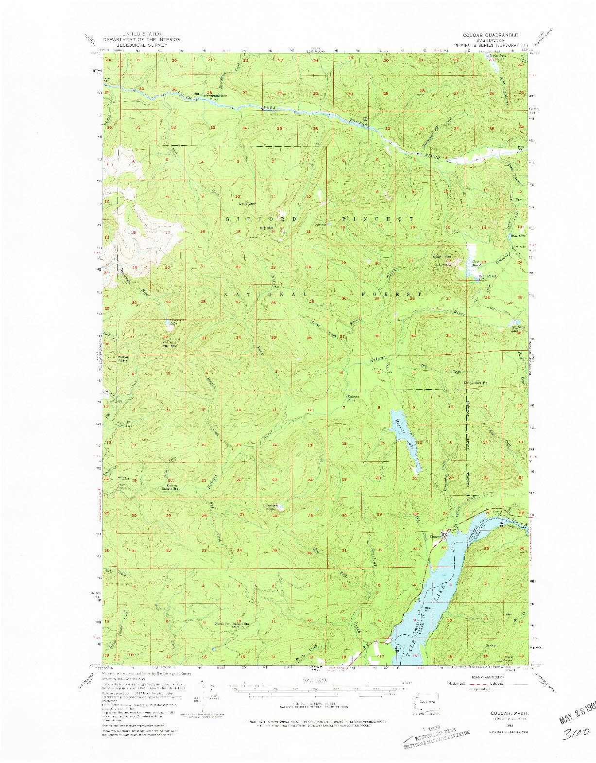 USGS 1:62500-SCALE QUADRANGLE FOR COUGAR, WA 1953