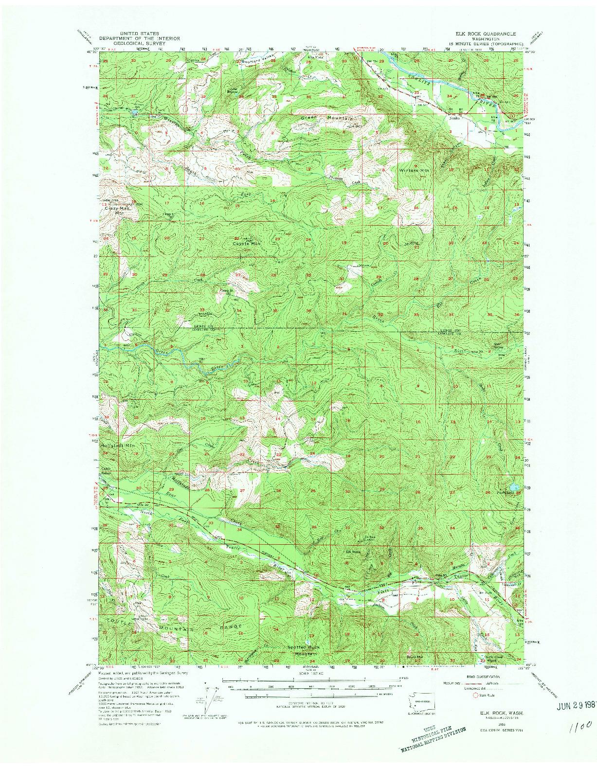 USGS 1:62500-SCALE QUADRANGLE FOR ELK ROCK, WA 1953
