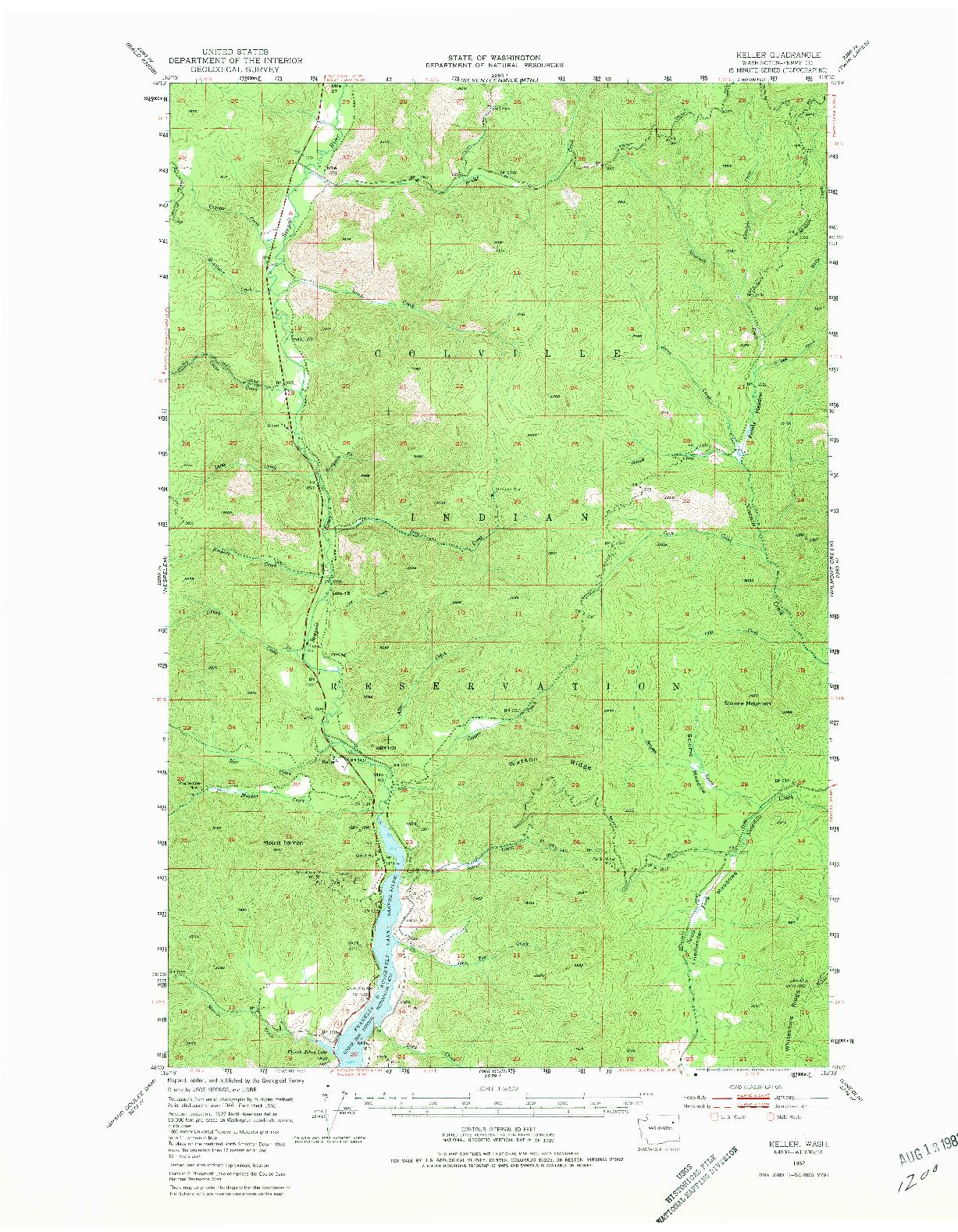 USGS 1:62500-SCALE QUADRANGLE FOR KELLER, WA 1952