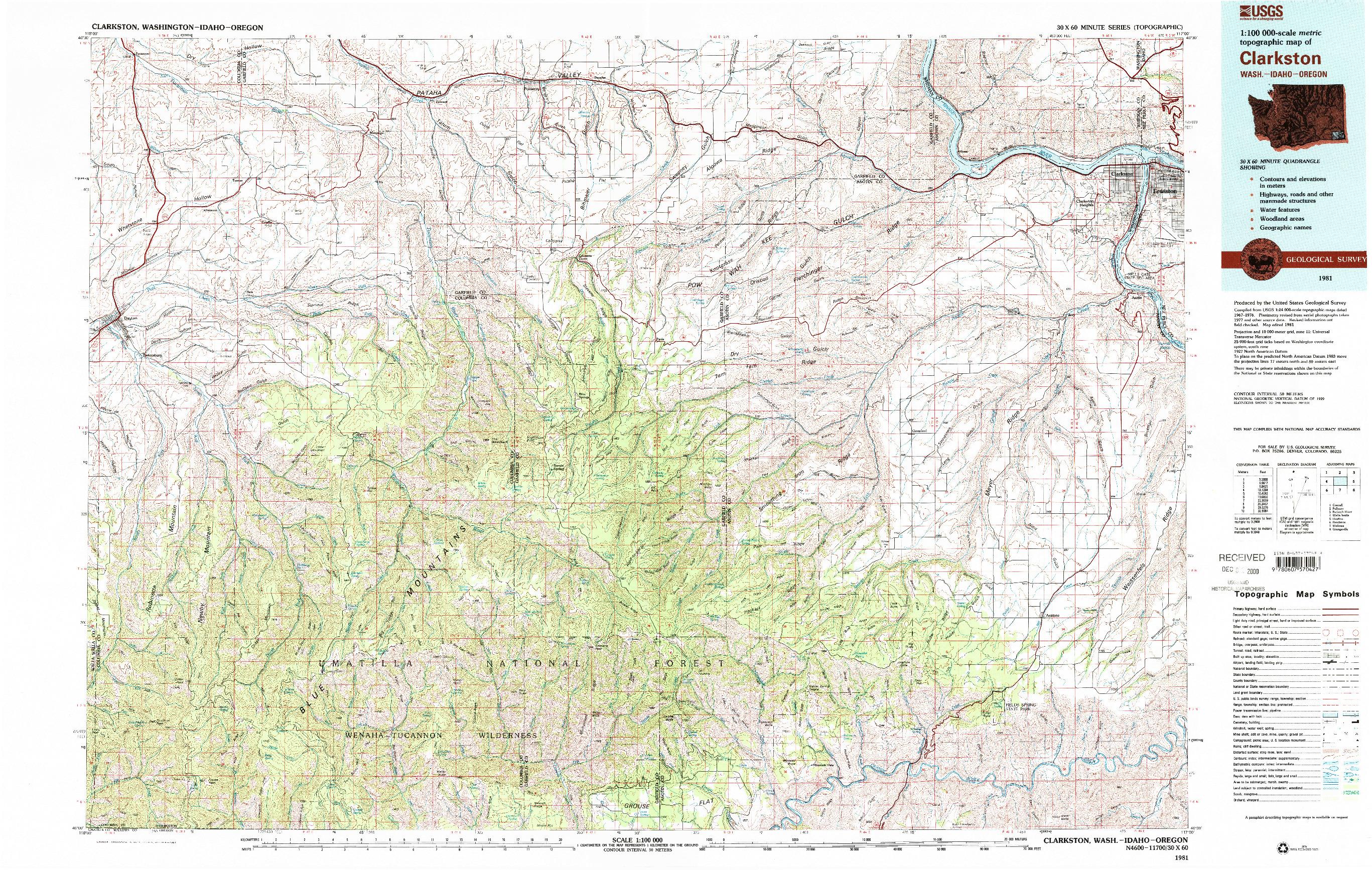 USGS 1:100000-SCALE QUADRANGLE FOR CLARKSTON, WA 1981