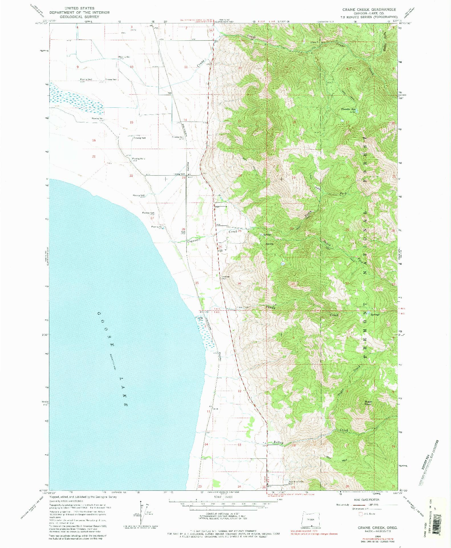 USGS 1:24000-SCALE QUADRANGLE FOR CRANE CREEK, OR 1964