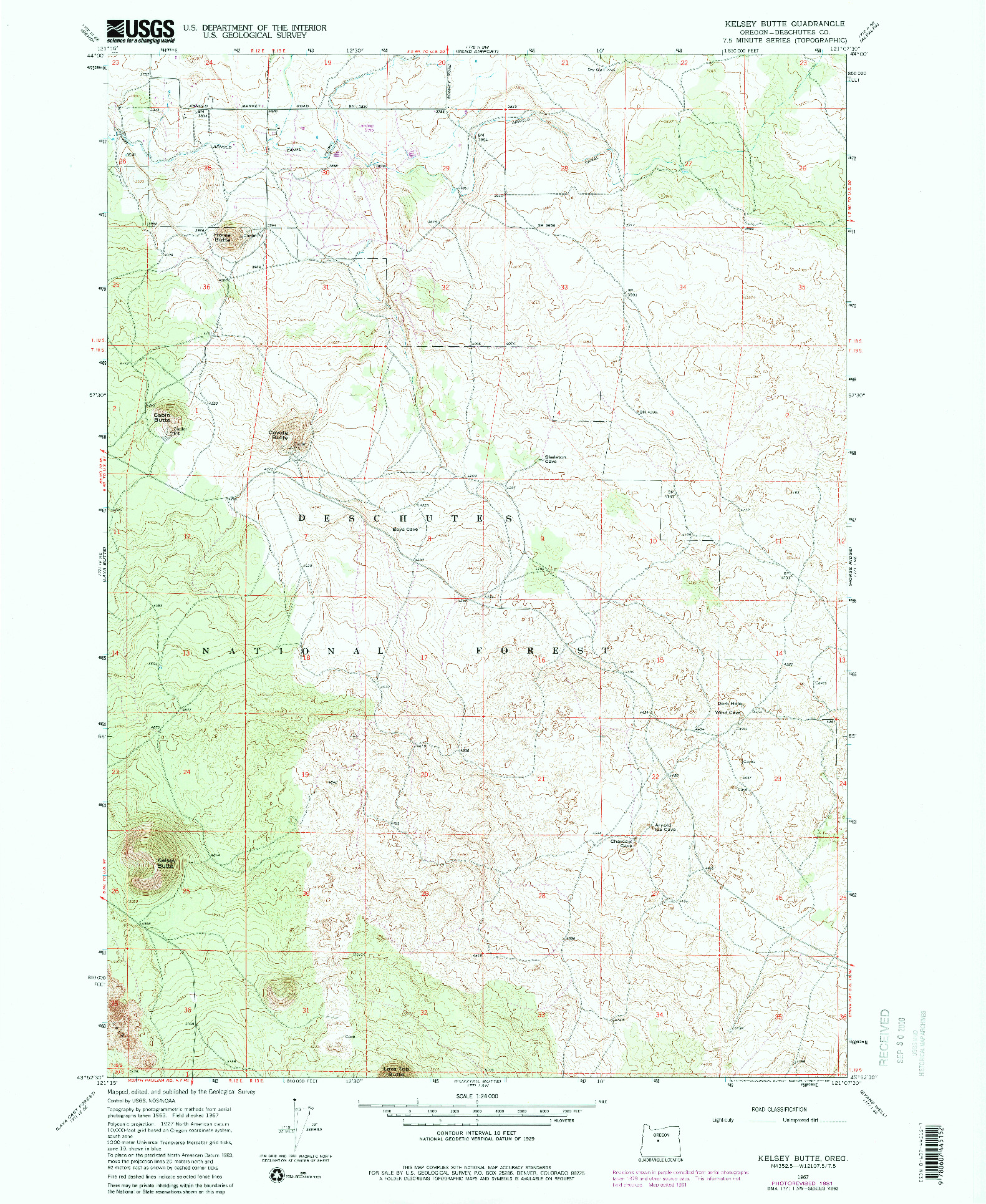 USGS 1:24000-SCALE QUADRANGLE FOR KELSEY BUTTE, OR 1967