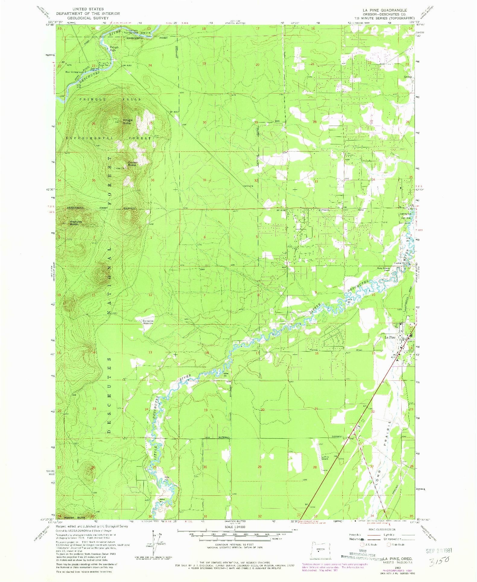USGS 1:24000-SCALE QUADRANGLE FOR LA PINE, OR 1963