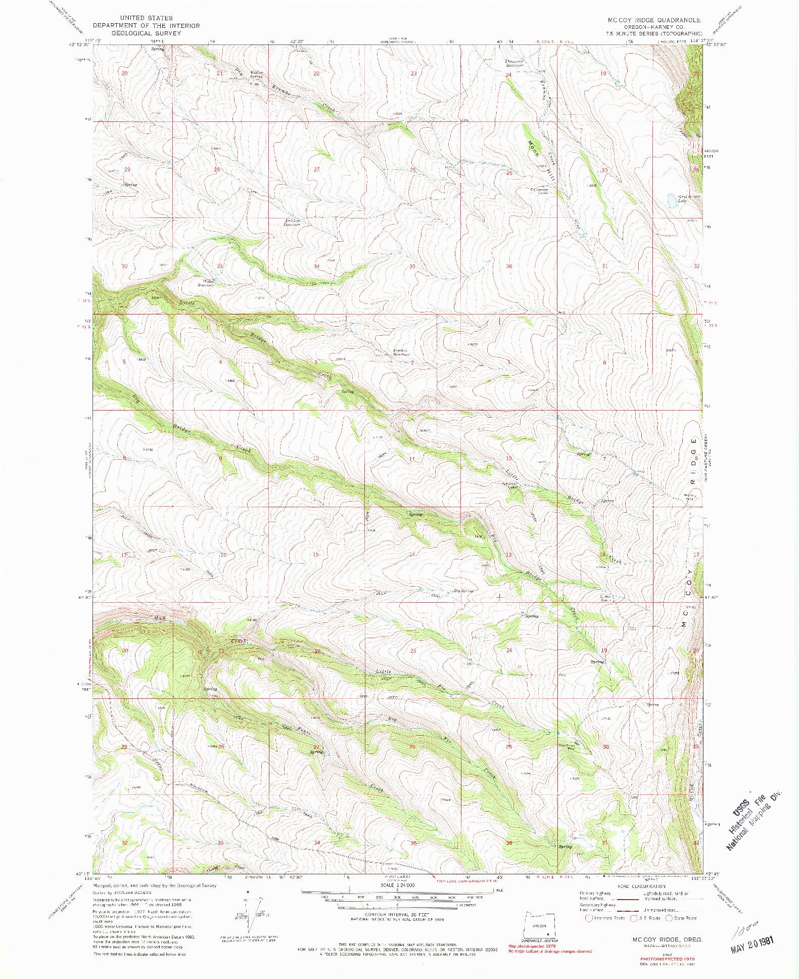 USGS 1:24000-SCALE QUADRANGLE FOR MC COY RIDGE, OR 1968