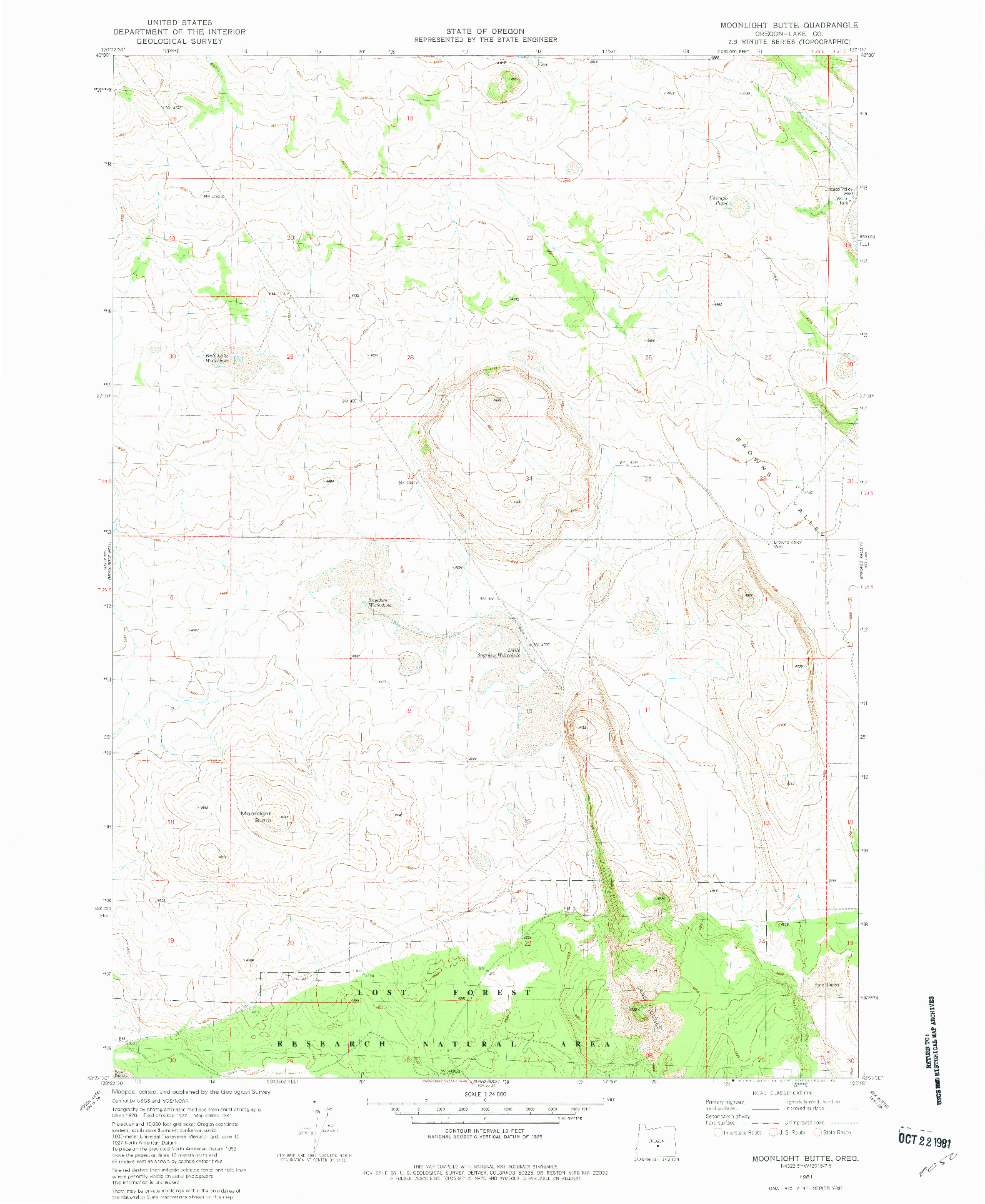 USGS 1:24000-SCALE QUADRANGLE FOR MOONLIGHT BUTTE, OR 1981