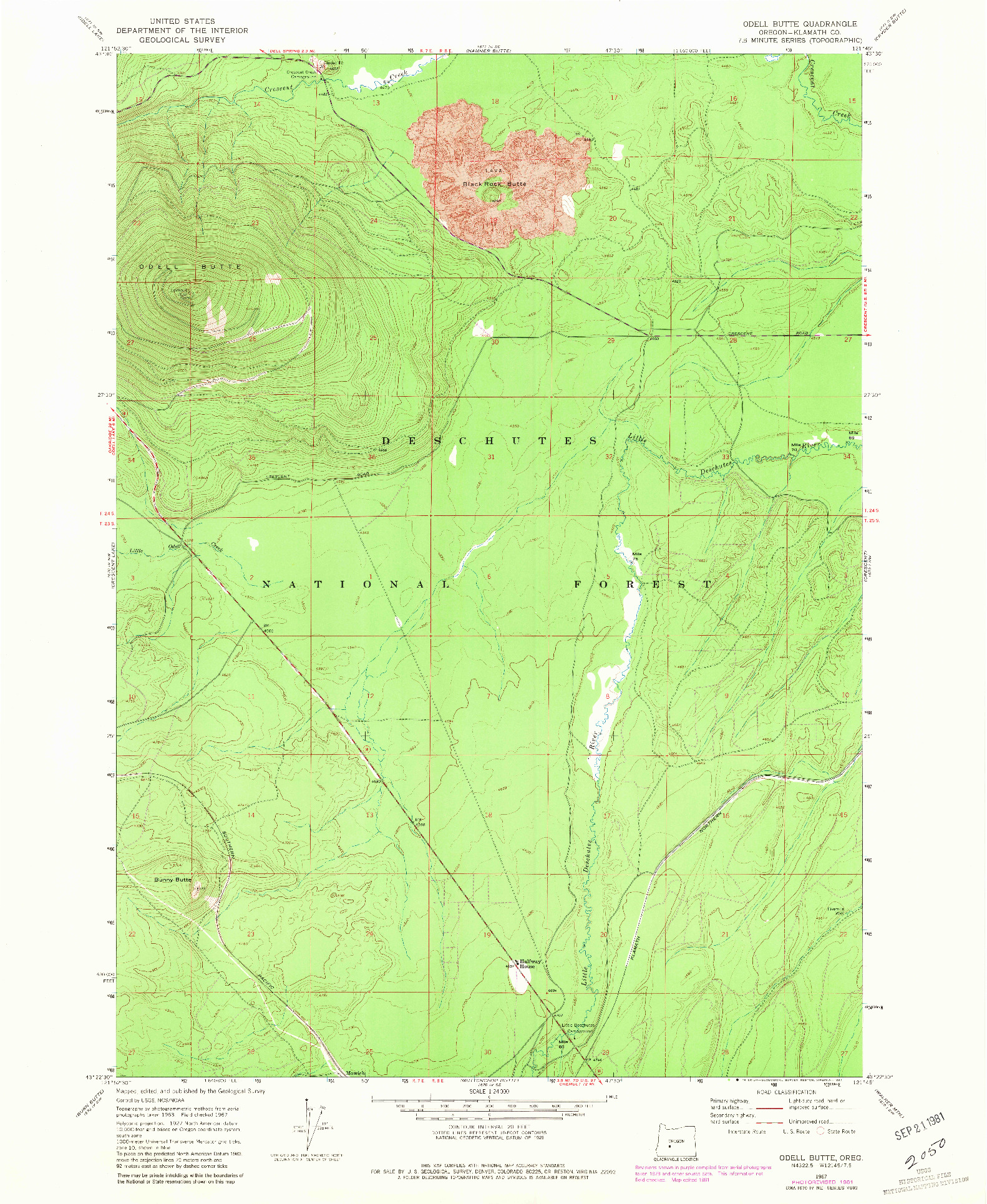 USGS 1:24000-SCALE QUADRANGLE FOR ODELL BUTTE, OR 1967