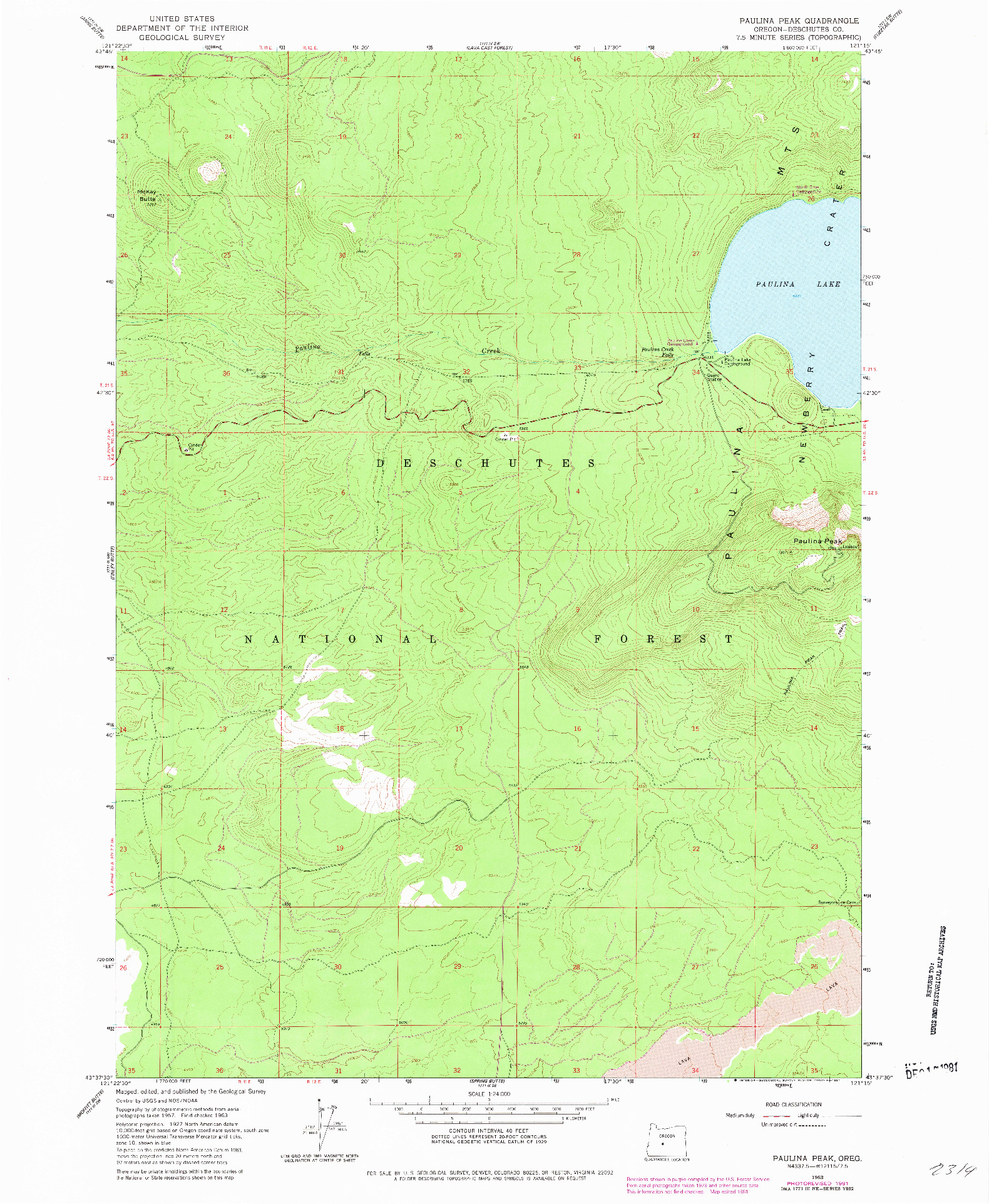 USGS 1:24000-SCALE QUADRANGLE FOR PAULINA PEAK, OR 1963