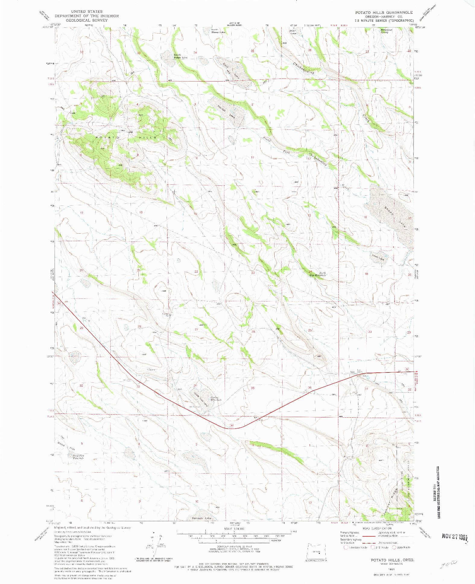 USGS 1:24000-SCALE QUADRANGLE FOR POTATO HILLS, OR 1981