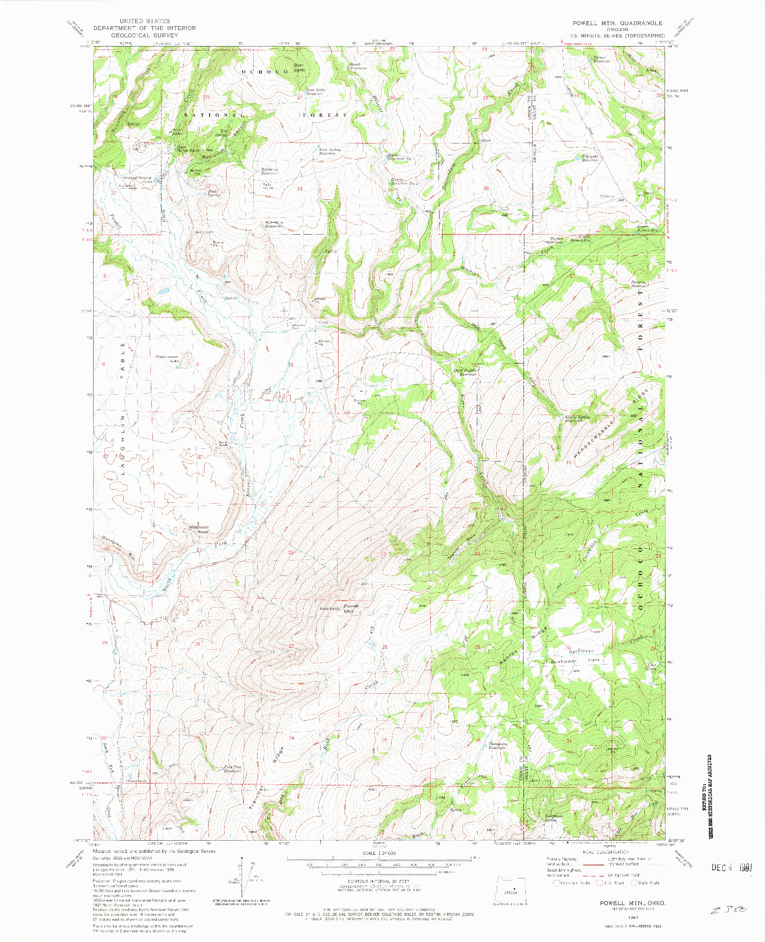 USGS 1:24000-SCALE QUADRANGLE FOR POWELL MTN, OR 1981