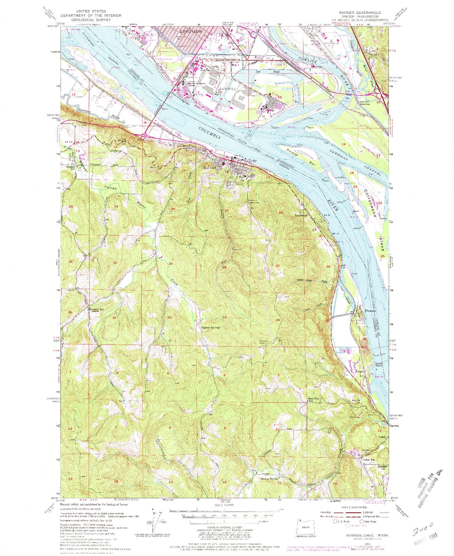USGS 1:24000-SCALE QUADRANGLE FOR RAINIER, OR 1953