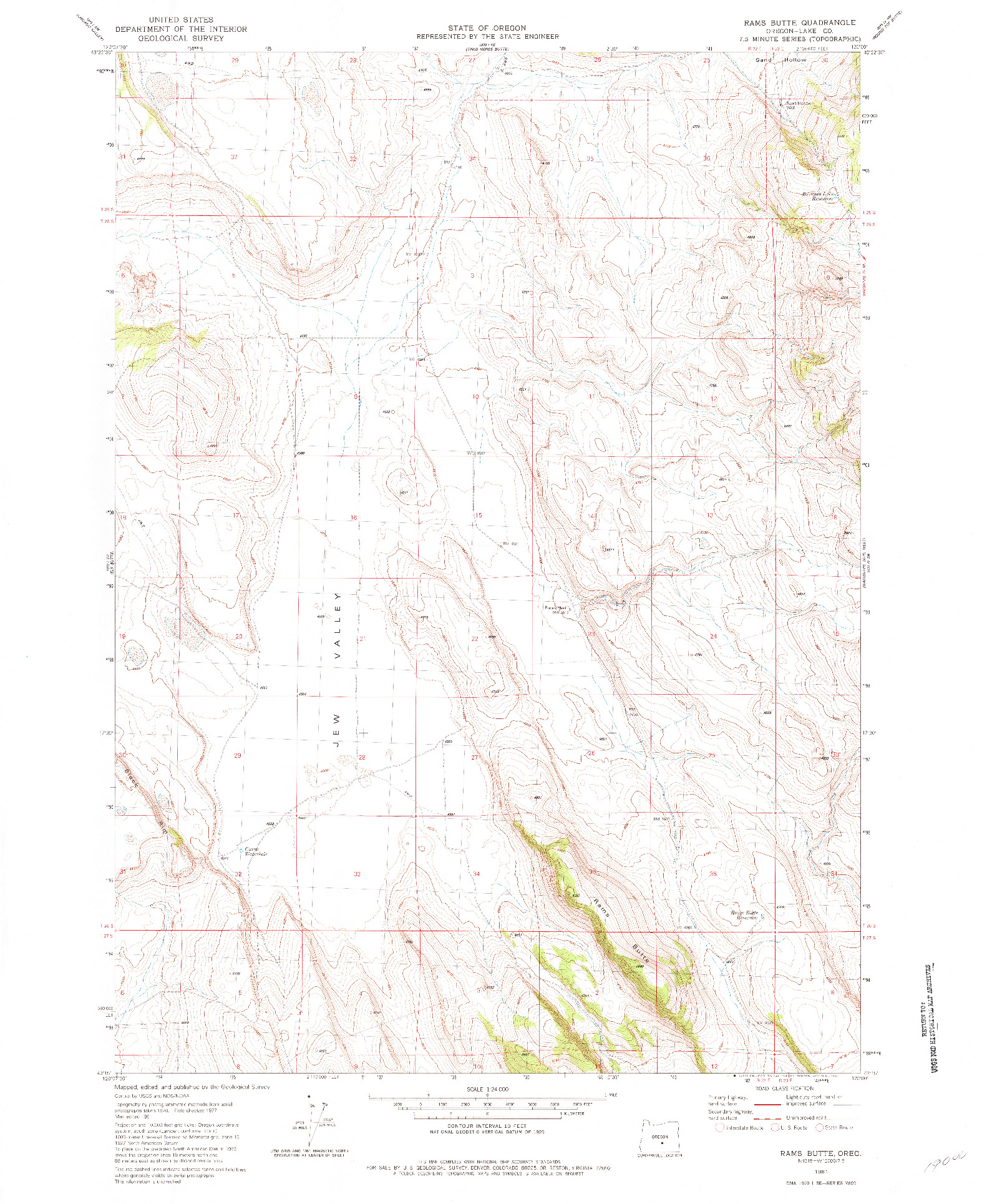 USGS 1:24000-SCALE QUADRANGLE FOR RAMS BUTTE, OR 1981