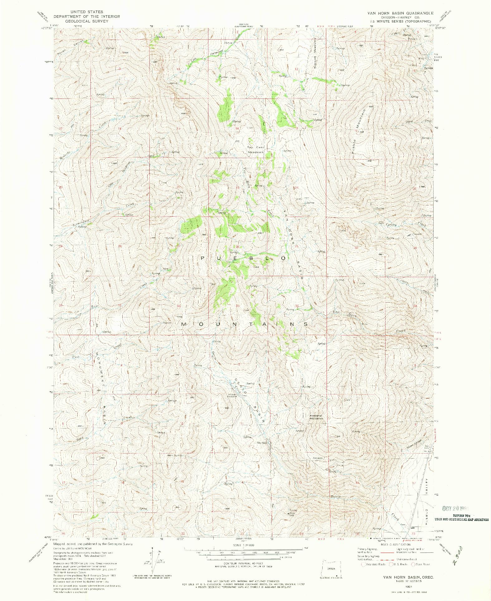 USGS 1:24000-SCALE QUADRANGLE FOR VAN HORN BASIN, OR 1981