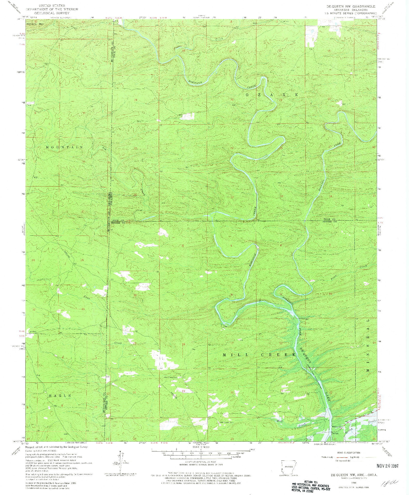 USGS 1:24000-SCALE QUADRANGLE FOR DE QUEEN NW, AR 1966