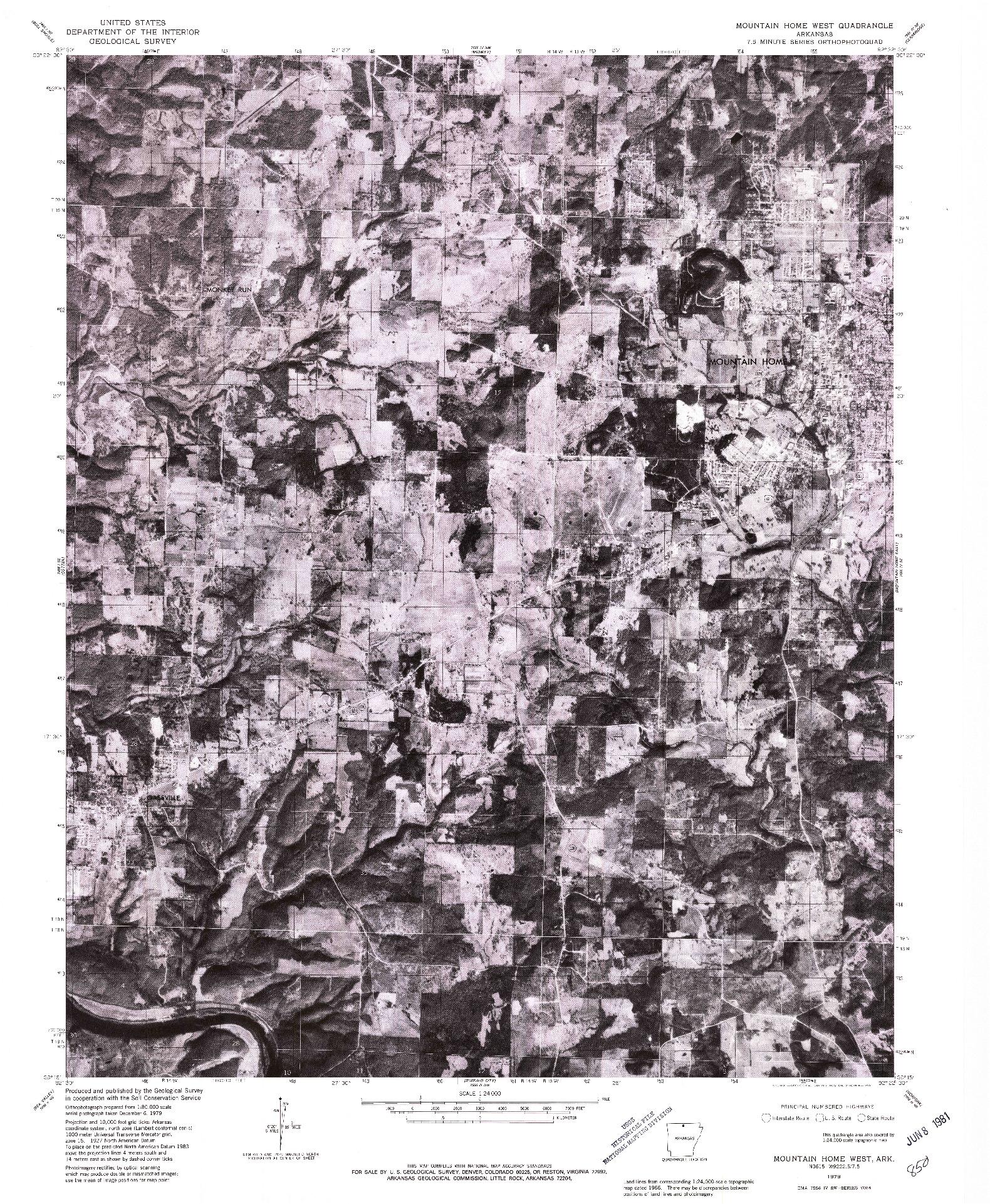 USGS 1:24000-SCALE QUADRANGLE FOR MOUNTAIN HOME WEST, AR 1979