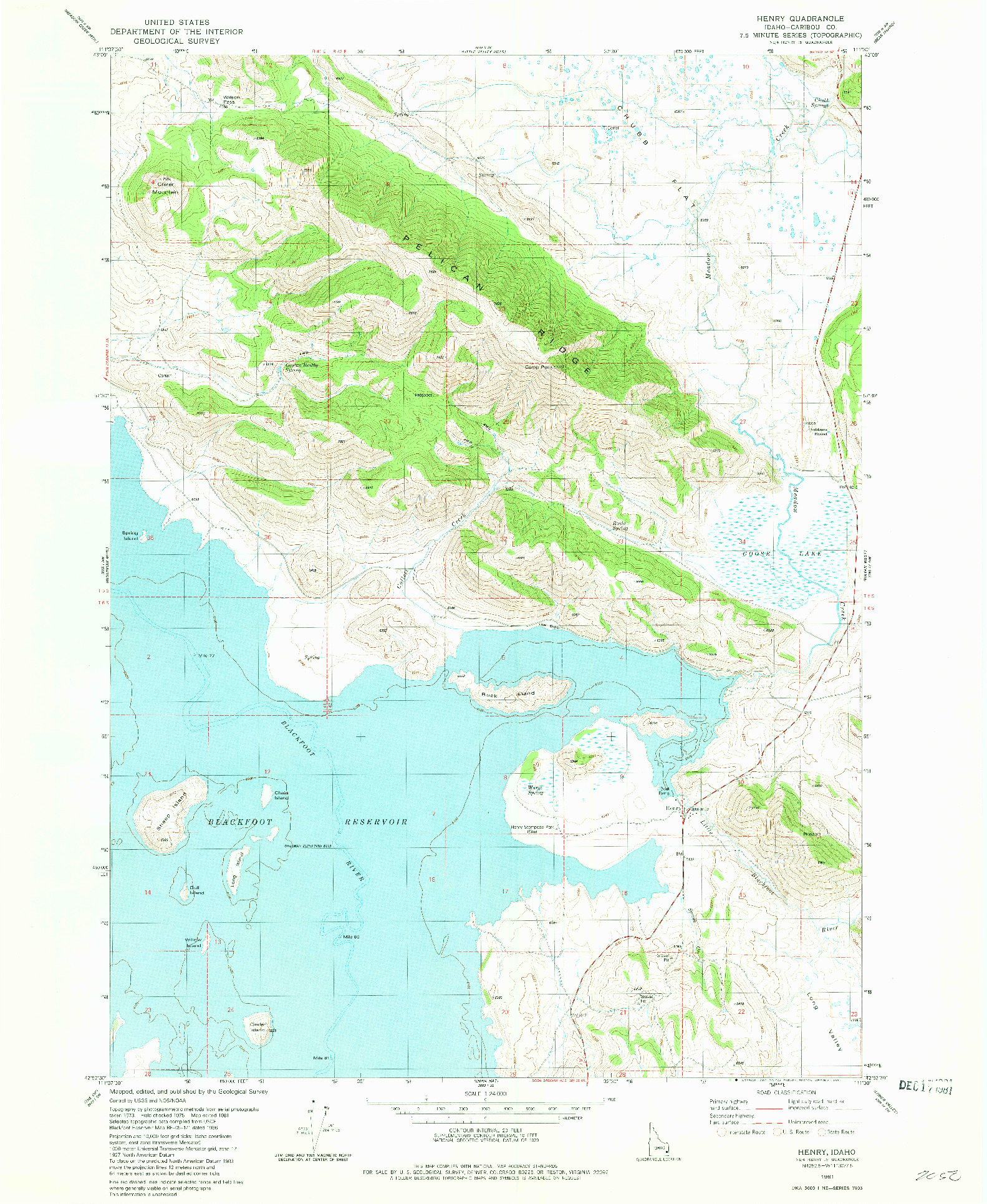 USGS 1:24000-SCALE QUADRANGLE FOR HENRY, ID 1981