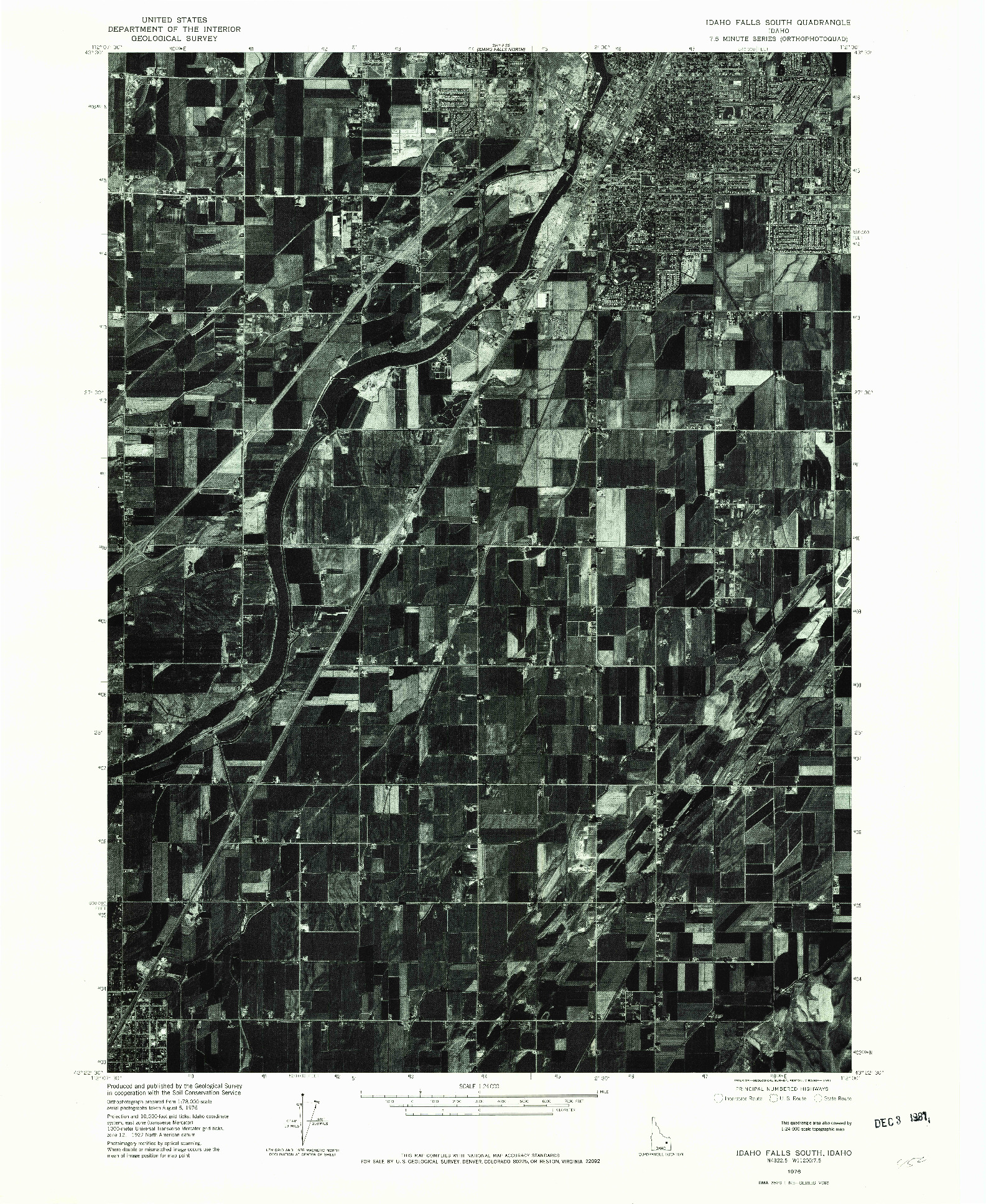 USGS 1:24000-SCALE QUADRANGLE FOR IDAHO FALLS SOUTH, ID 1976