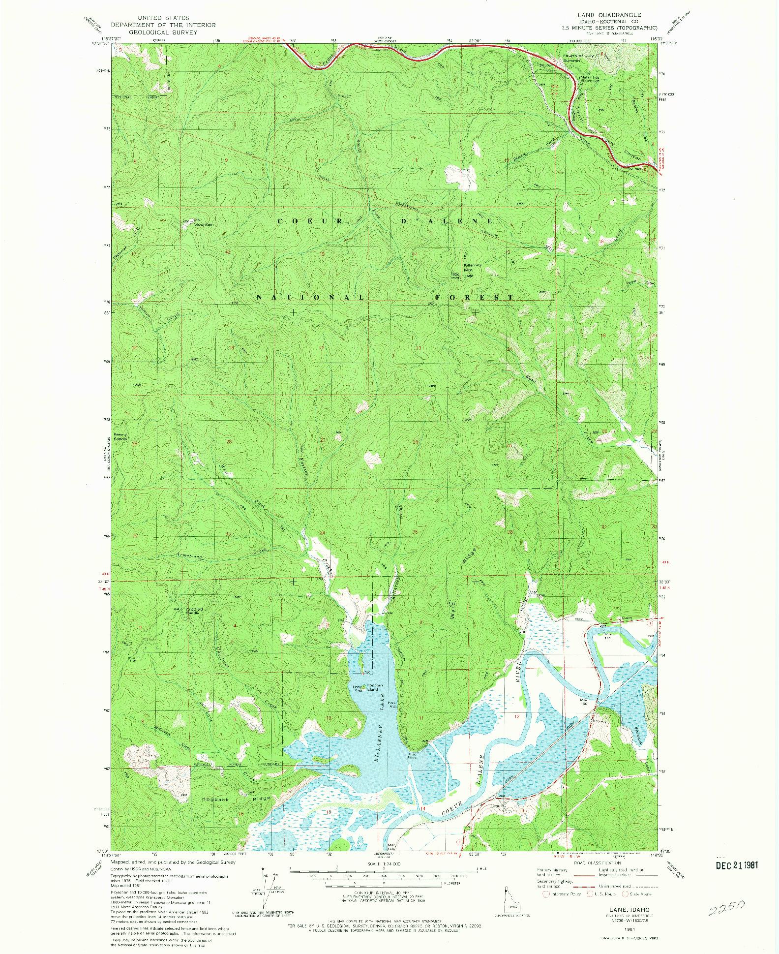 USGS 1:24000-SCALE QUADRANGLE FOR LANE, ID 1981