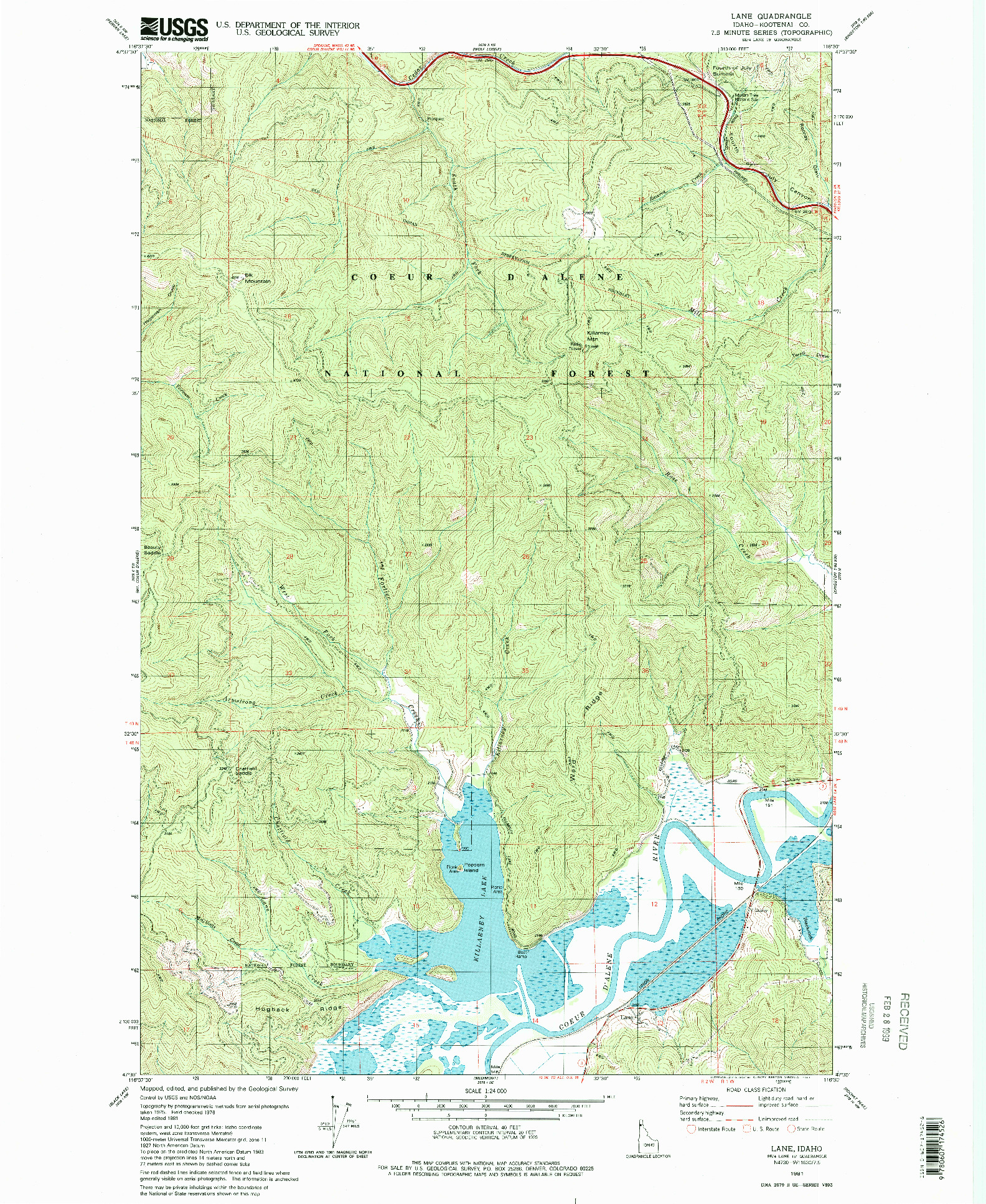 USGS 1:24000-SCALE QUADRANGLE FOR LANE, ID 1981