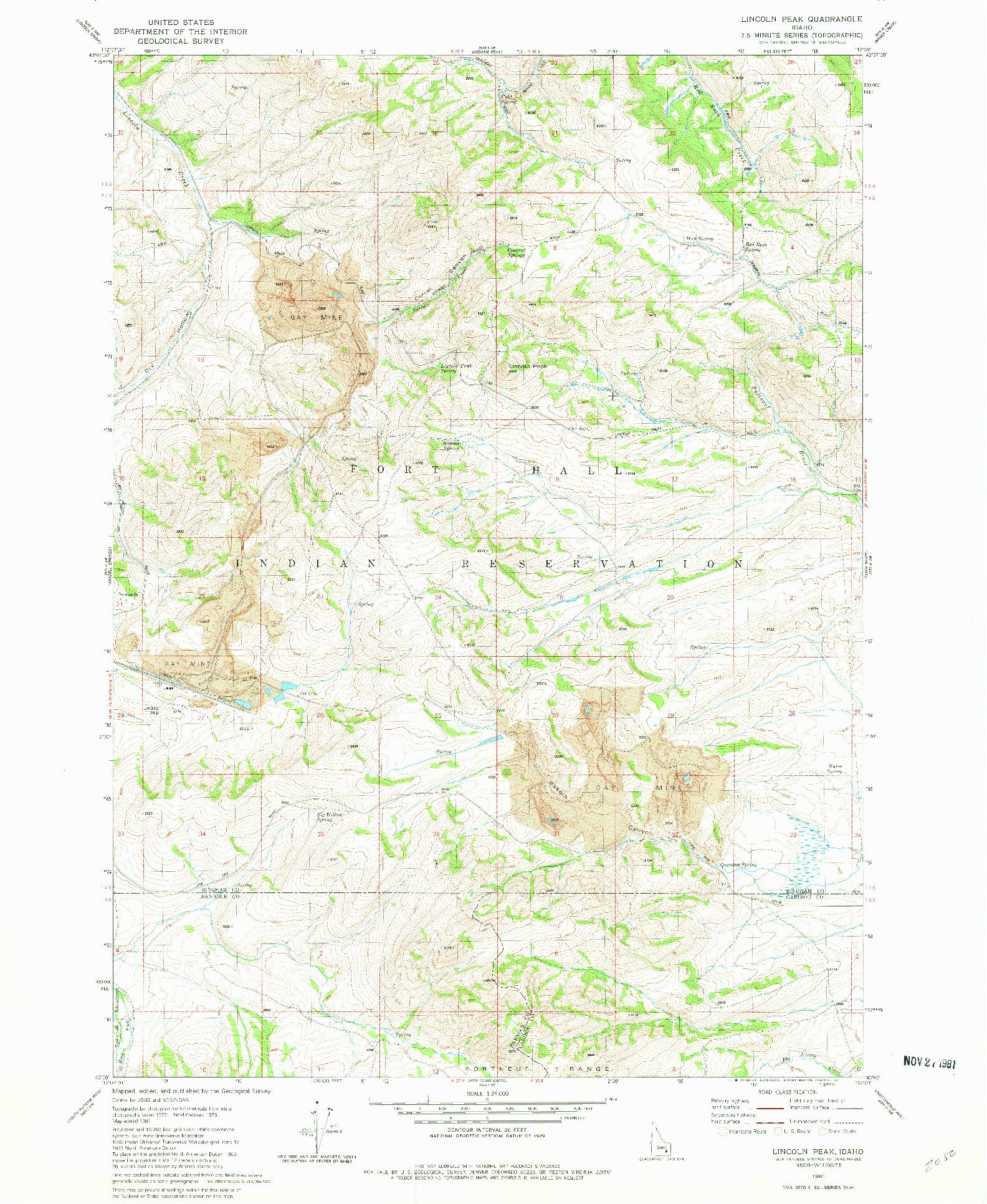 USGS 1:24000-SCALE QUADRANGLE FOR LINCOLN PEAK, ID 1981