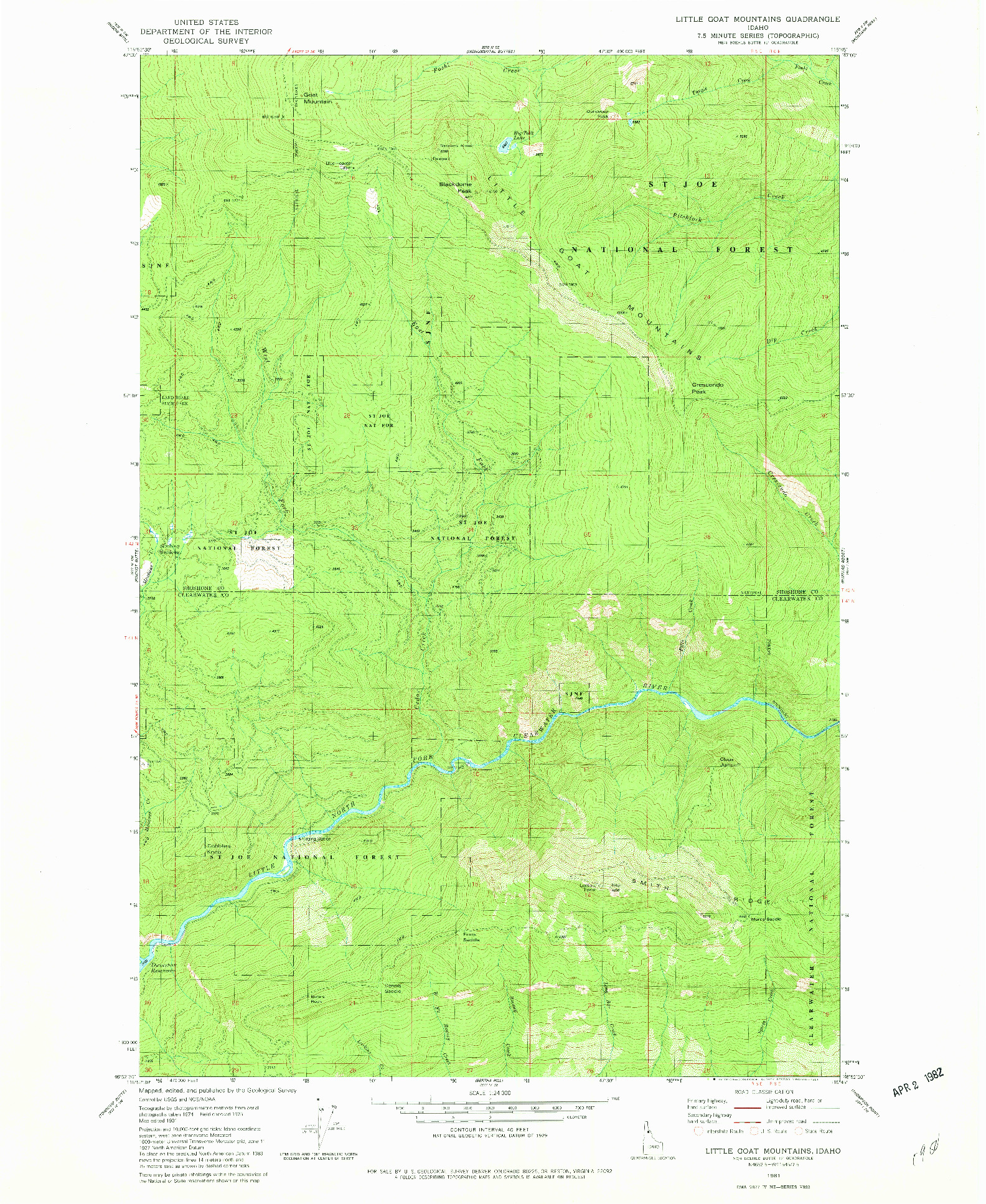 USGS 1:24000-SCALE QUADRANGLE FOR LITTLE GOAT MOUNTAINS, ID 1981