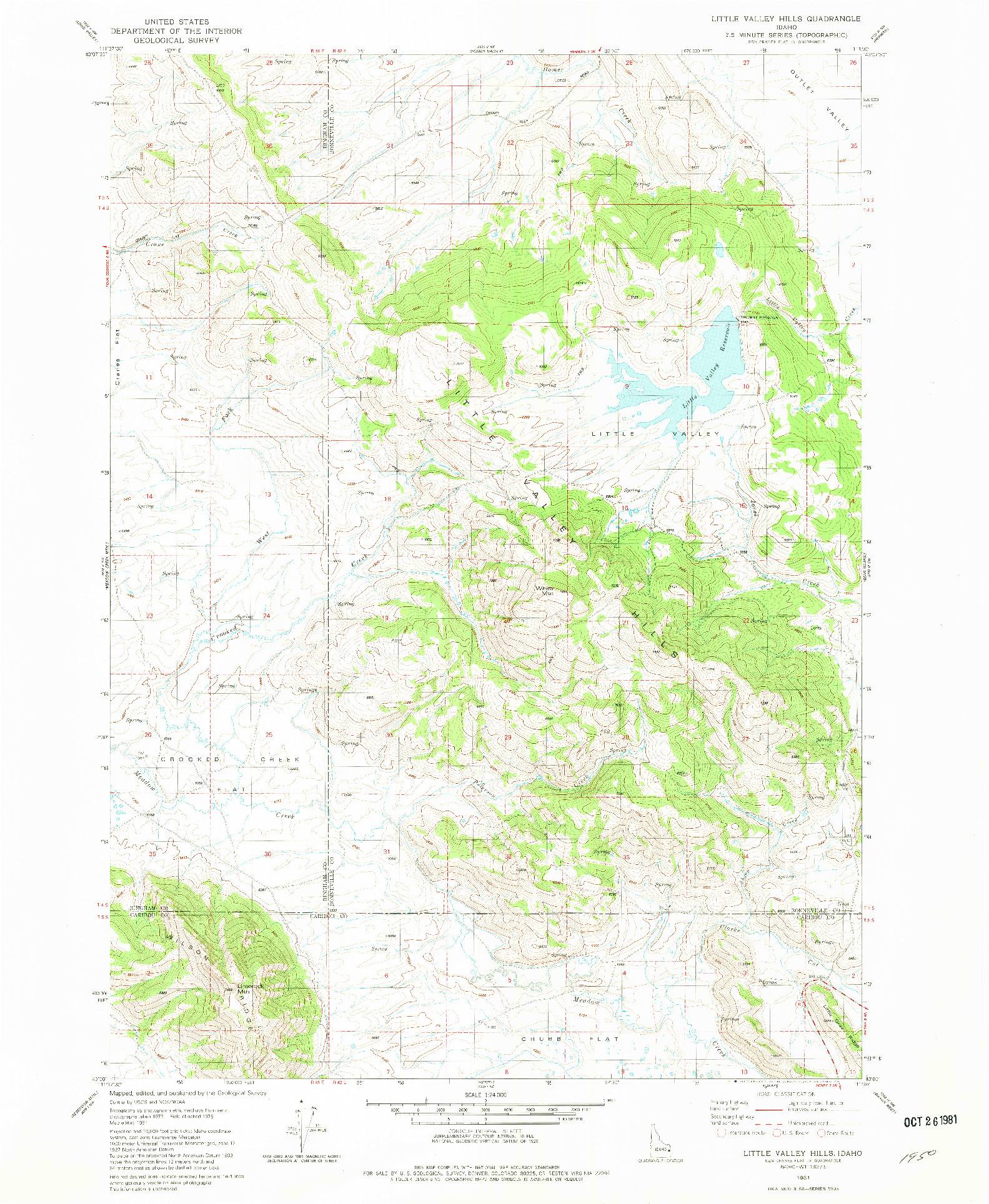 USGS 1:24000-SCALE QUADRANGLE FOR LITTLE VALLEY HILLS, ID 1981