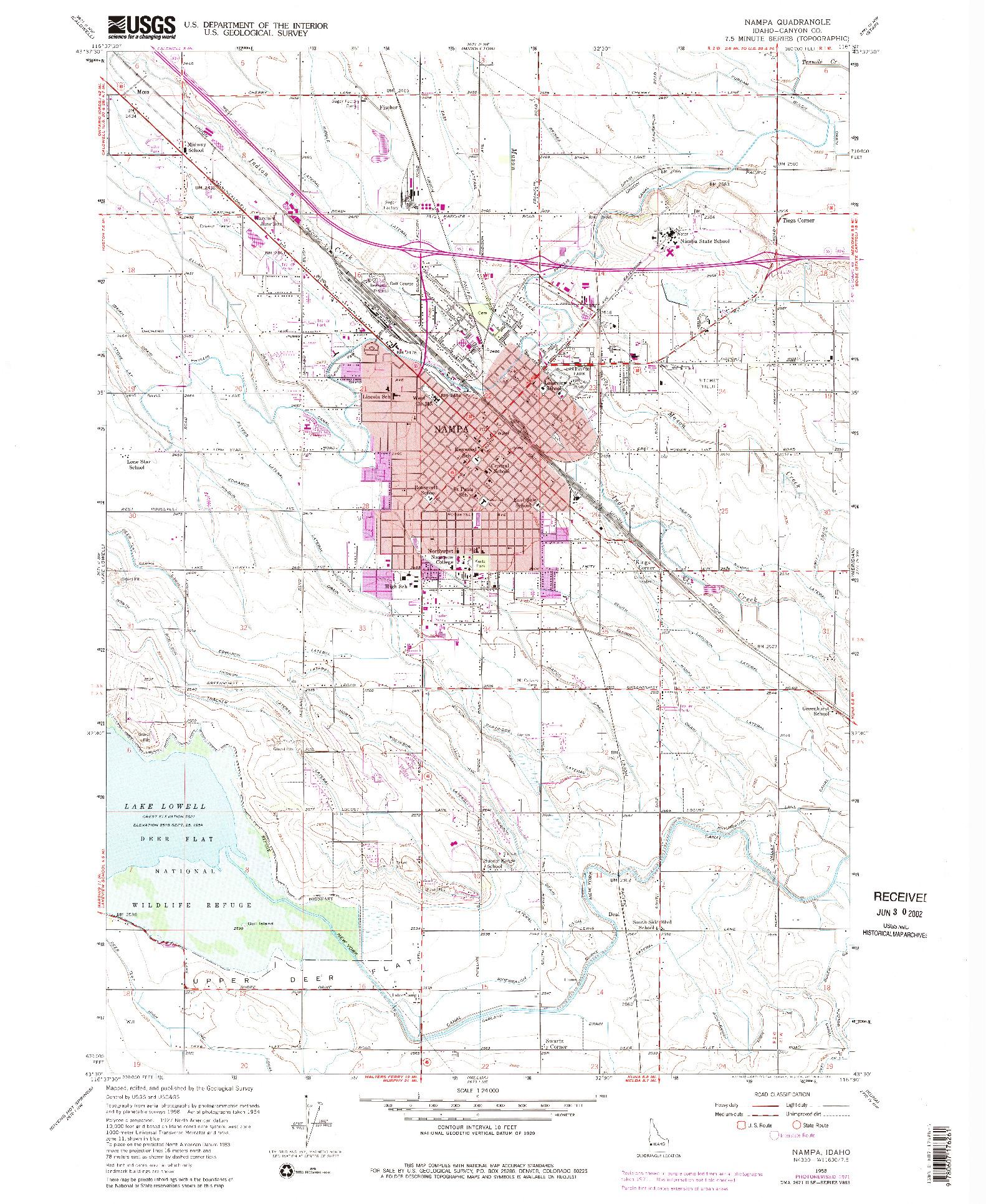 USGS 1:24000-SCALE QUADRANGLE FOR NAMPA, ID 1958