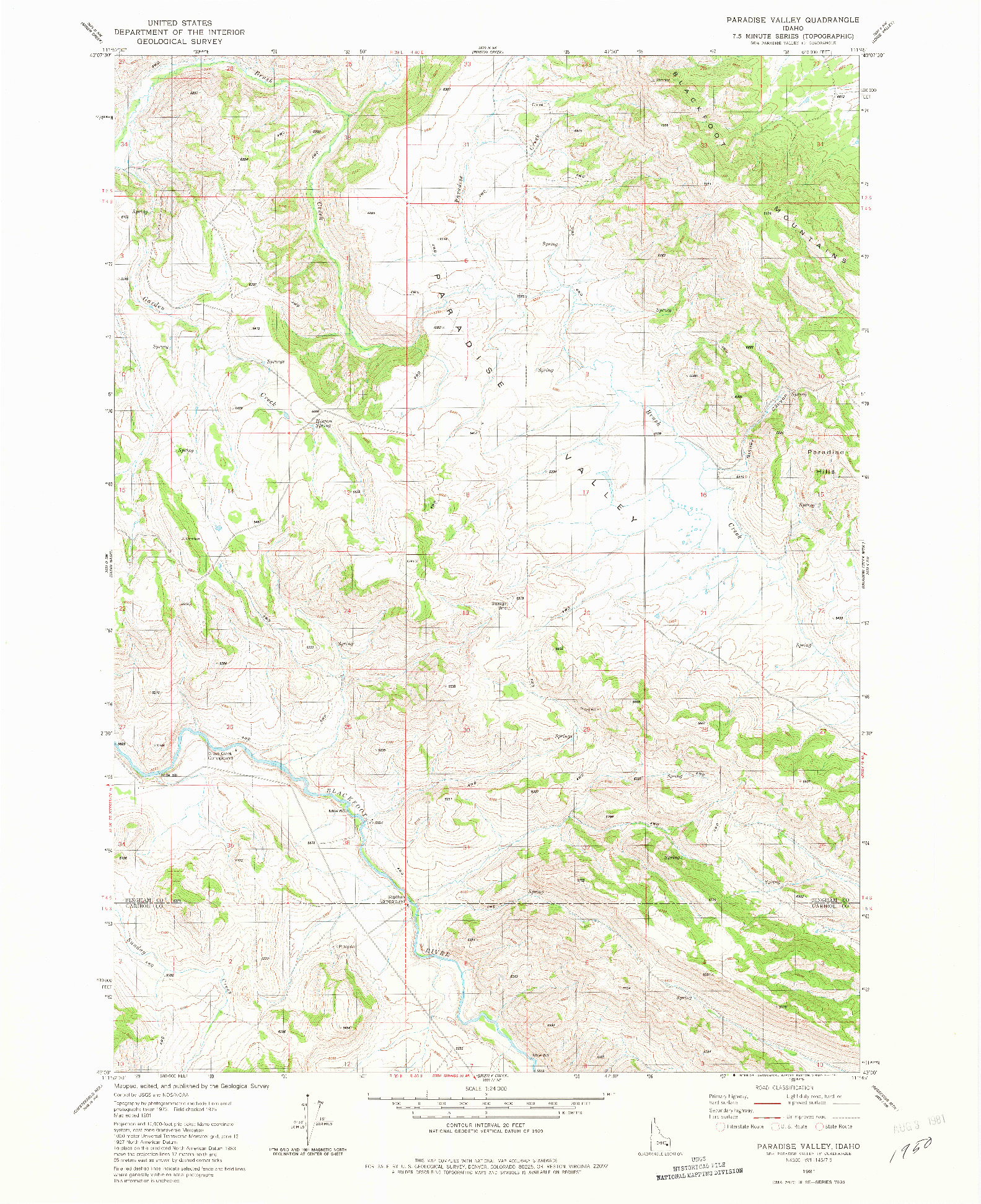 USGS 1:24000-SCALE QUADRANGLE FOR PARADISE VALLEY, ID 1981