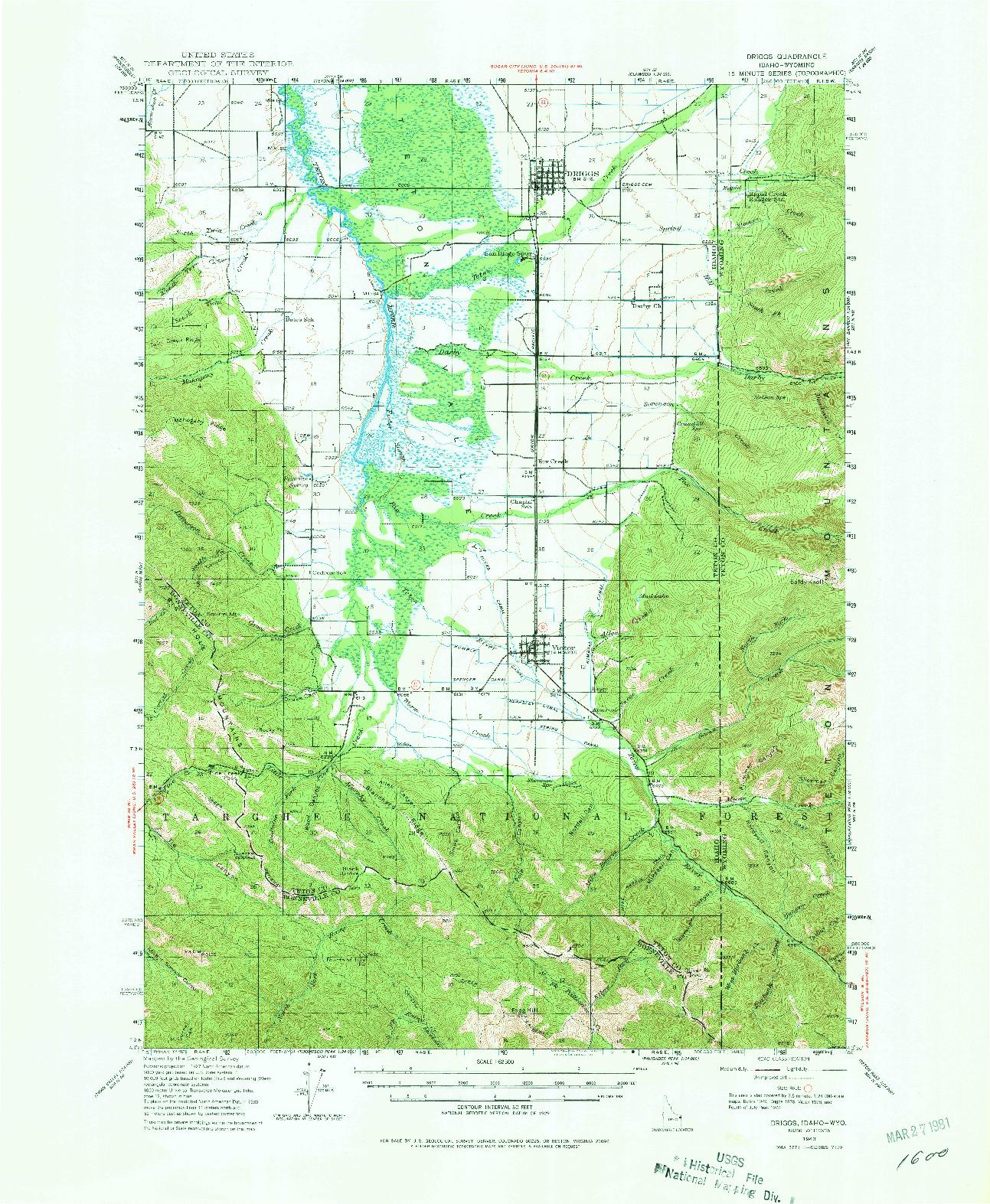 USGS 1:62500-SCALE QUADRANGLE FOR DRIGGS, ID 1943