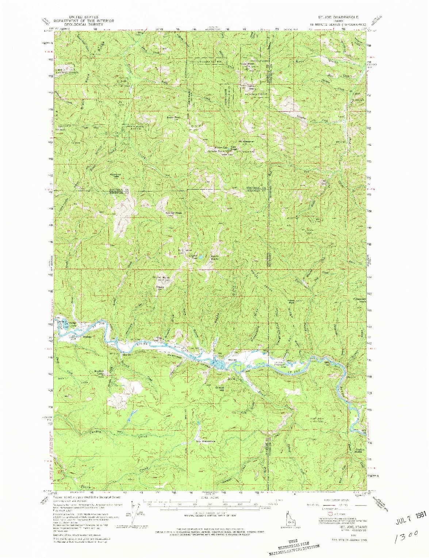 USGS 1:62500-SCALE QUADRANGLE FOR ST. JOE, ID 1957