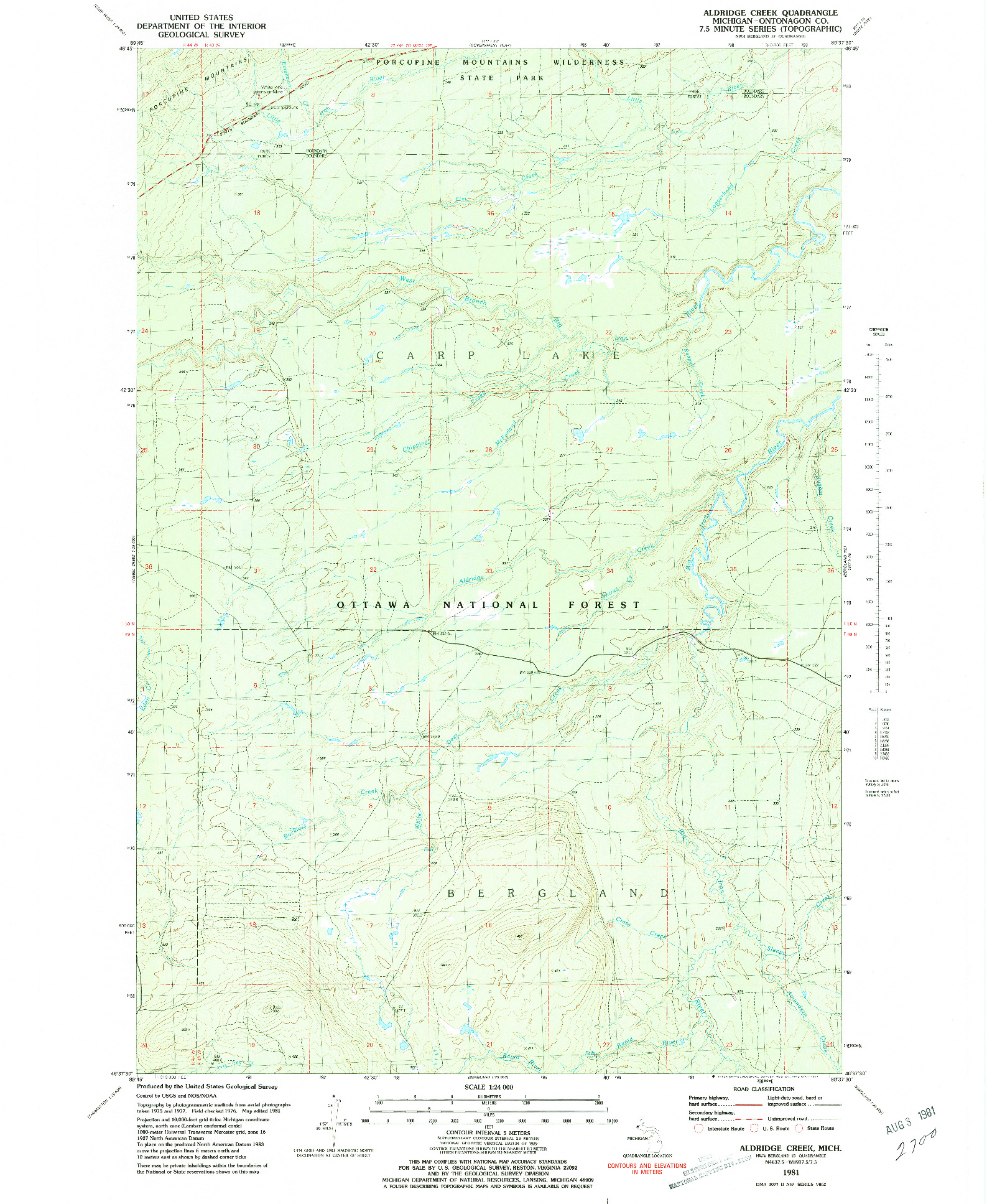 USGS 1:24000-SCALE QUADRANGLE FOR ALDRIDGE CREEK, MI 1981