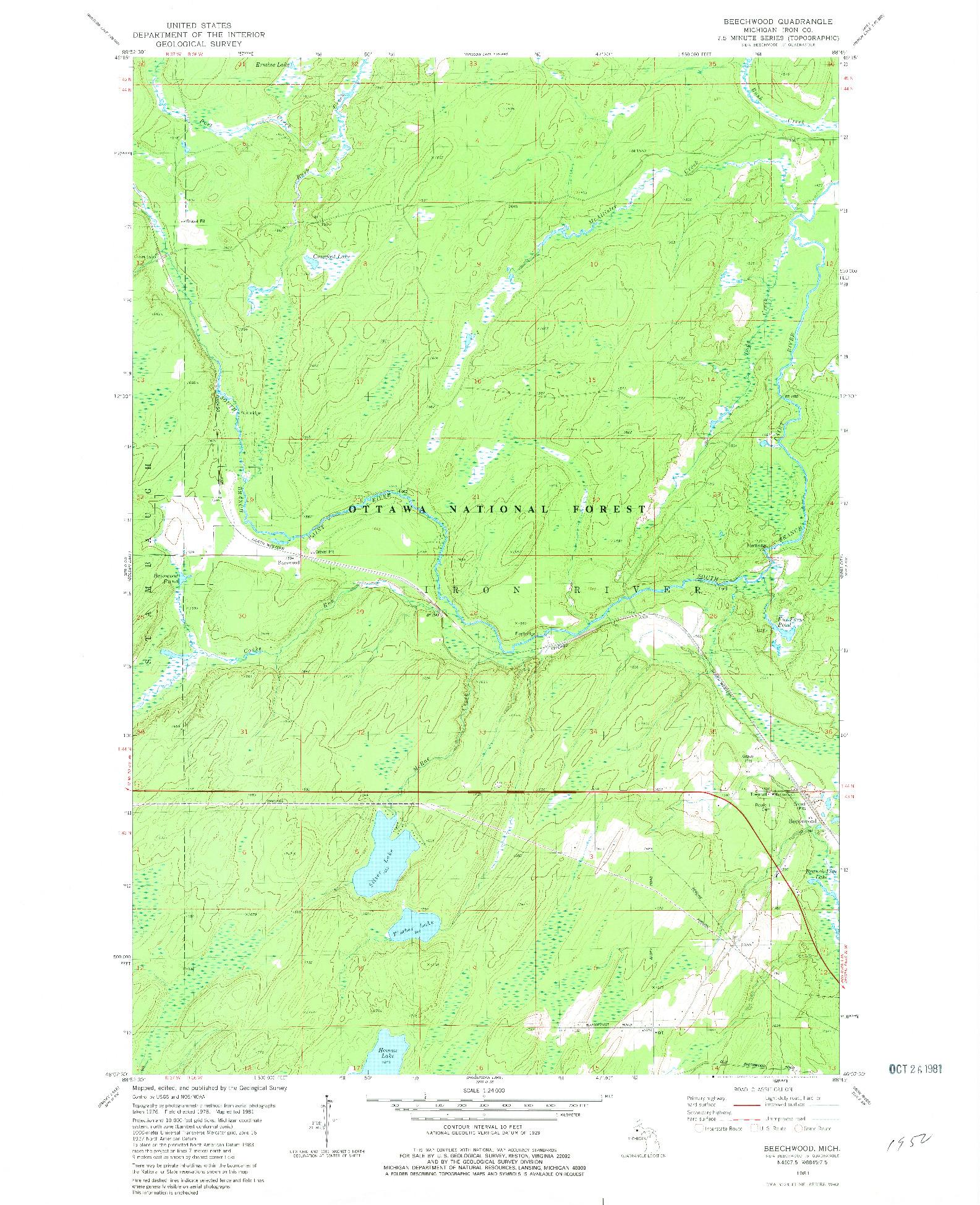 USGS 1:24000-SCALE QUADRANGLE FOR BEECHWOOD, MI 1981