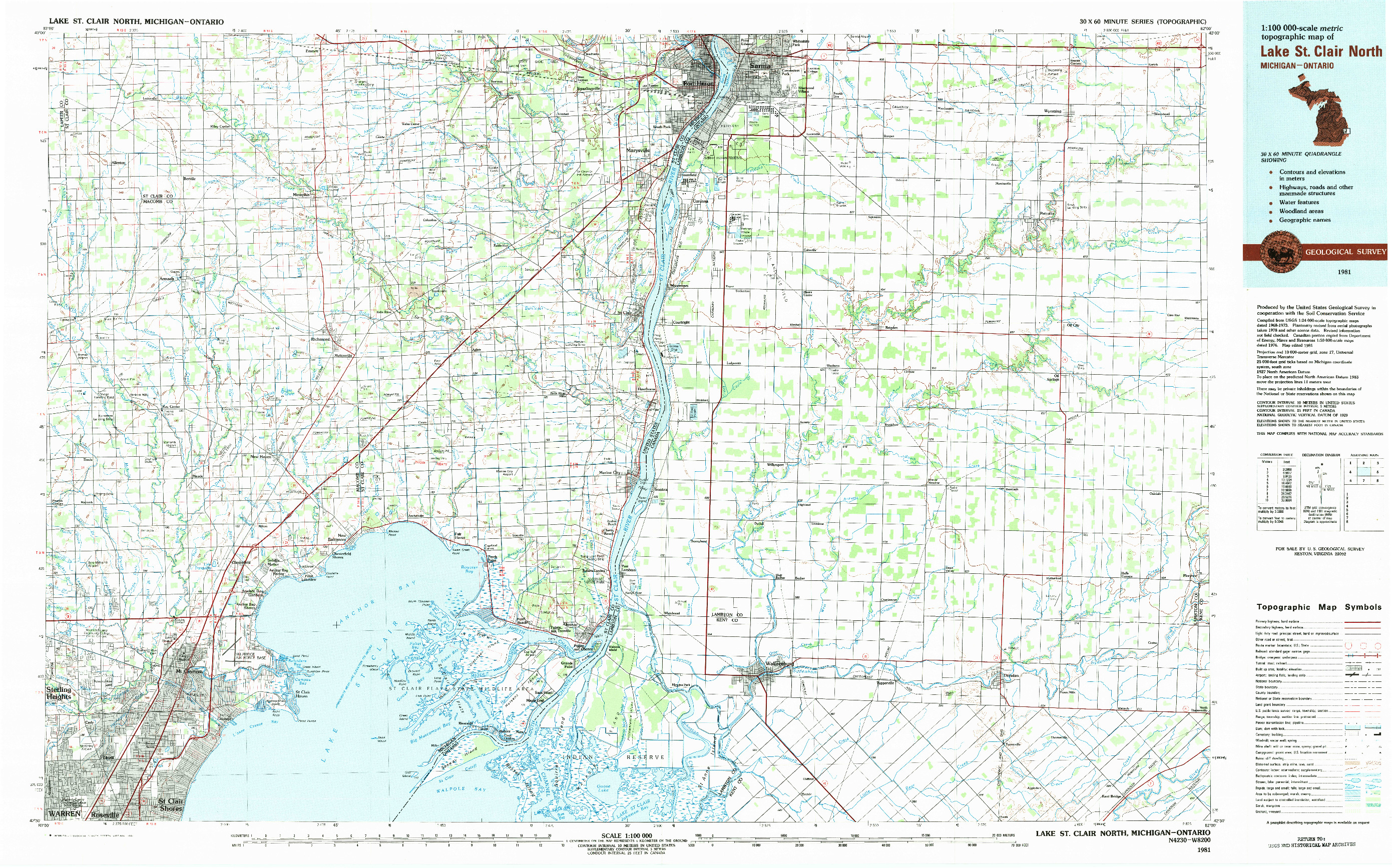 USGS 1:100000-SCALE QUADRANGLE FOR LAKE ST. CLAIR NORTH, MI 1981