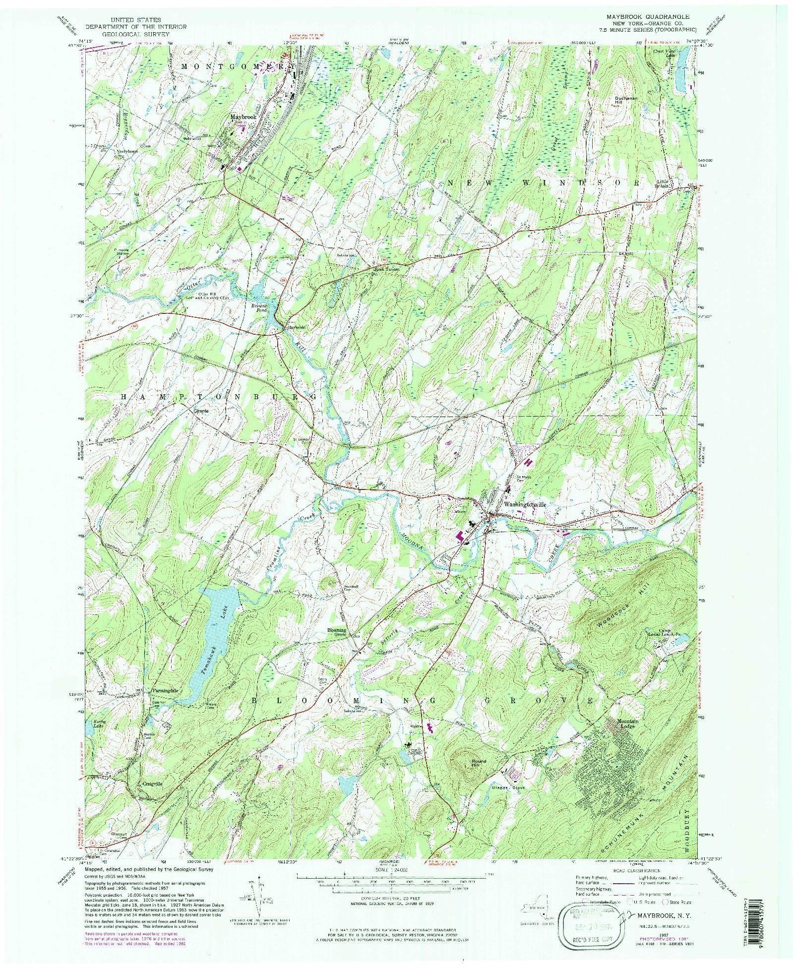 USGS 1:24000-SCALE QUADRANGLE FOR MAYBROOK, NY 1957