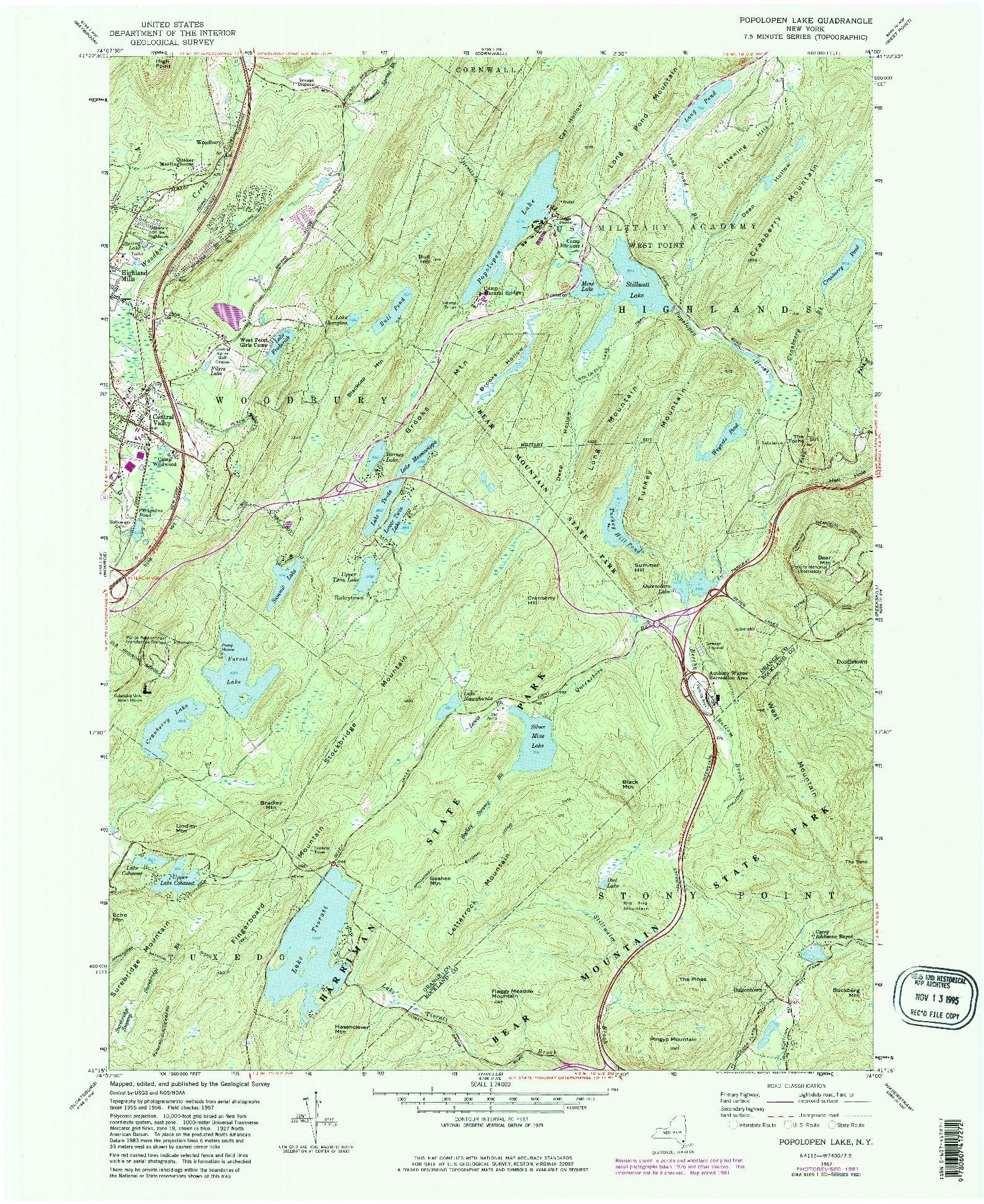 USGS 1:24000-SCALE QUADRANGLE FOR POPOLOPEN LAKE, NY 1957