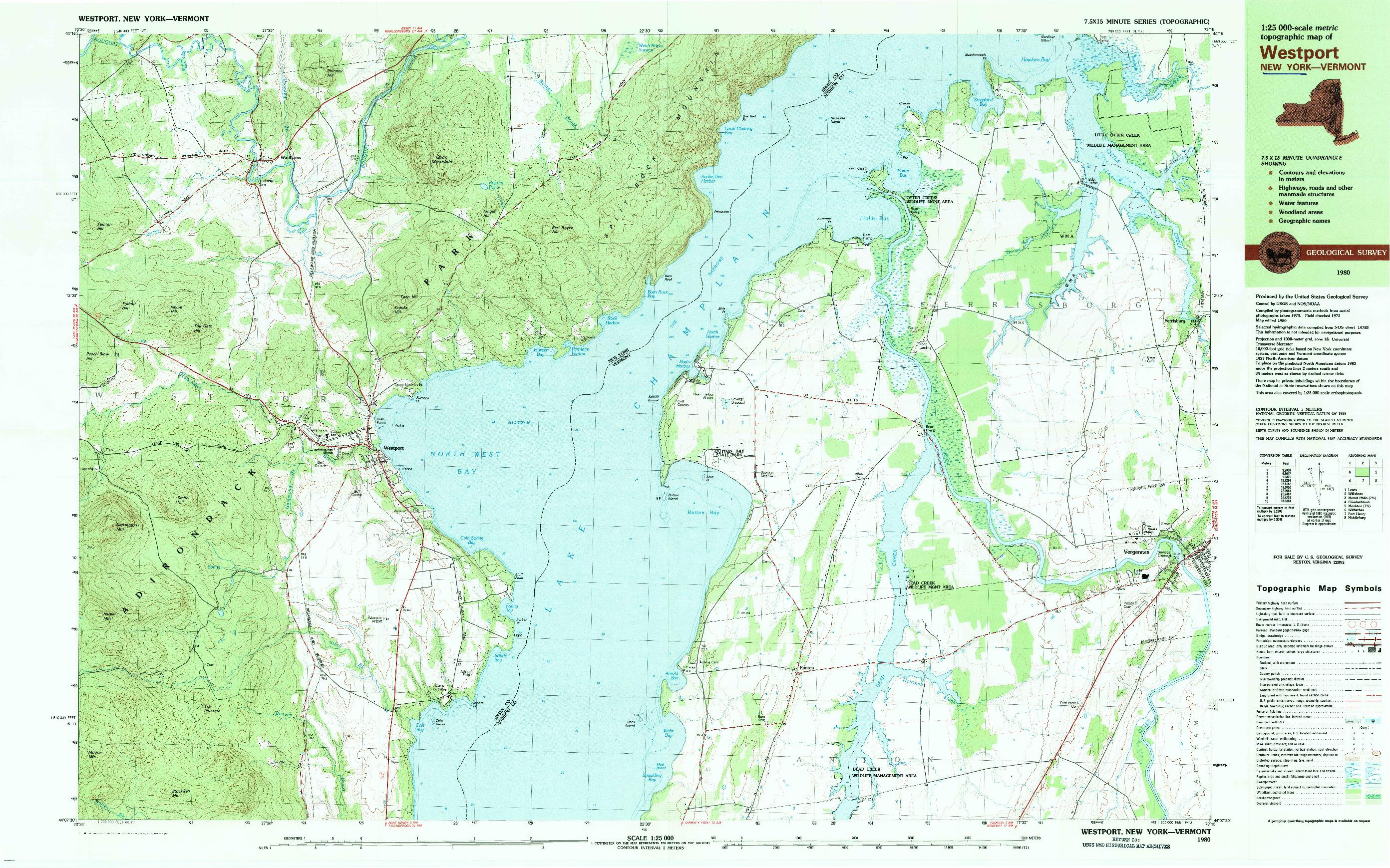 USGS 1:25000-SCALE QUADRANGLE FOR WESTPORT, NY 1980