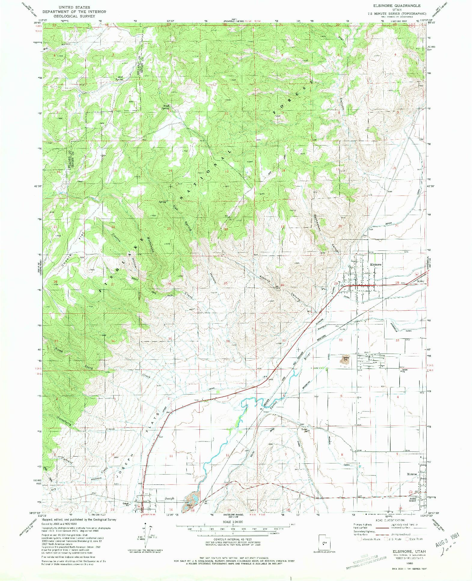 USGS 1:24000-SCALE QUADRANGLE FOR ELSINORE, UT 1980