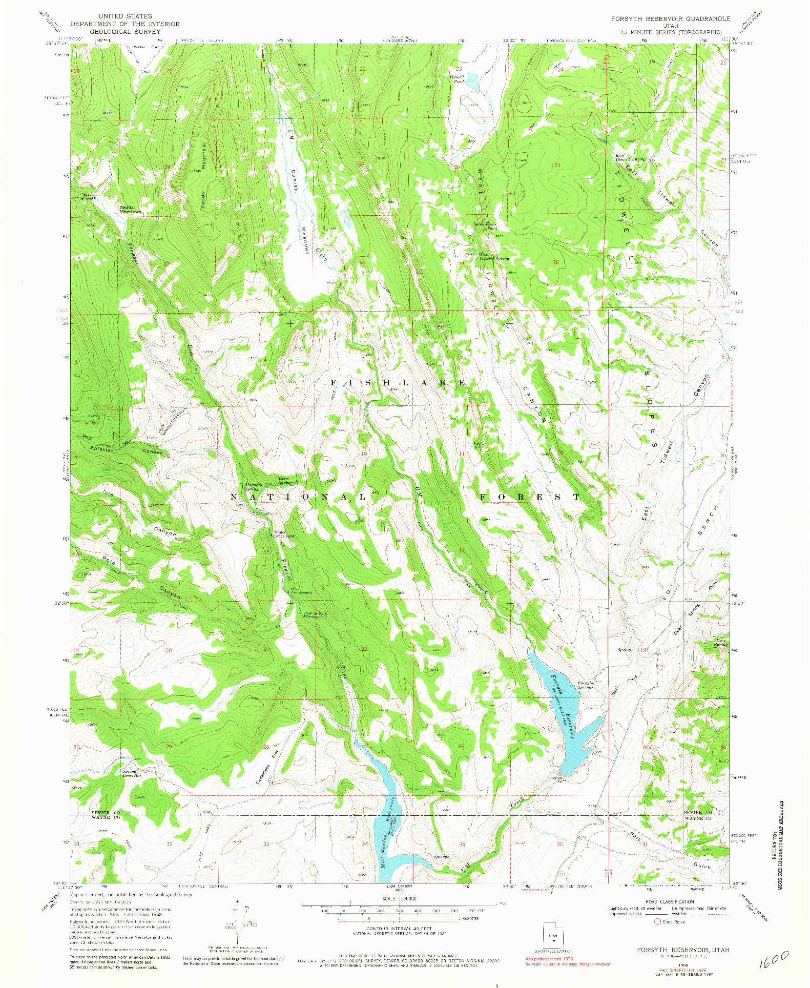 USGS 1:24000-SCALE QUADRANGLE FOR FORSYTH RESERVOIR, UT 1976