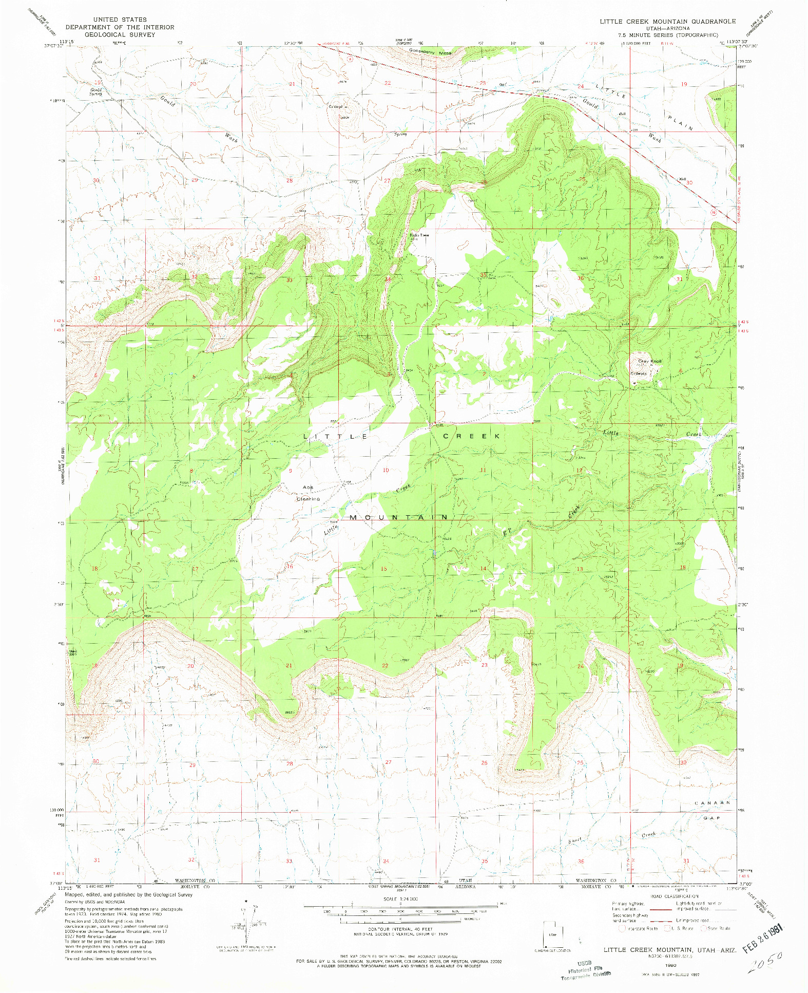 USGS 1:24000-SCALE QUADRANGLE FOR LITTLE CREEK MOUNTAIN, UT 1980