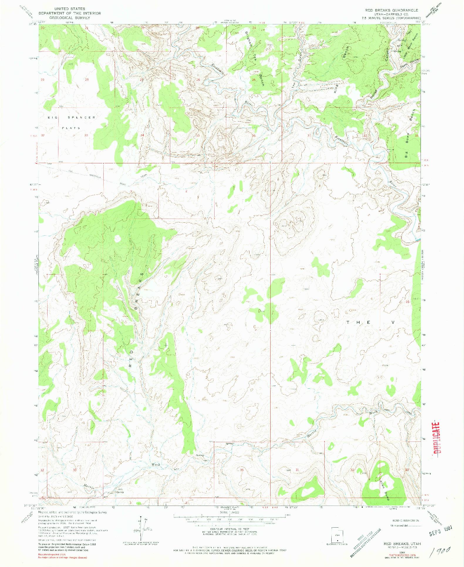 USGS 1:24000-SCALE QUADRANGLE FOR RED BREAKS, UT 1964