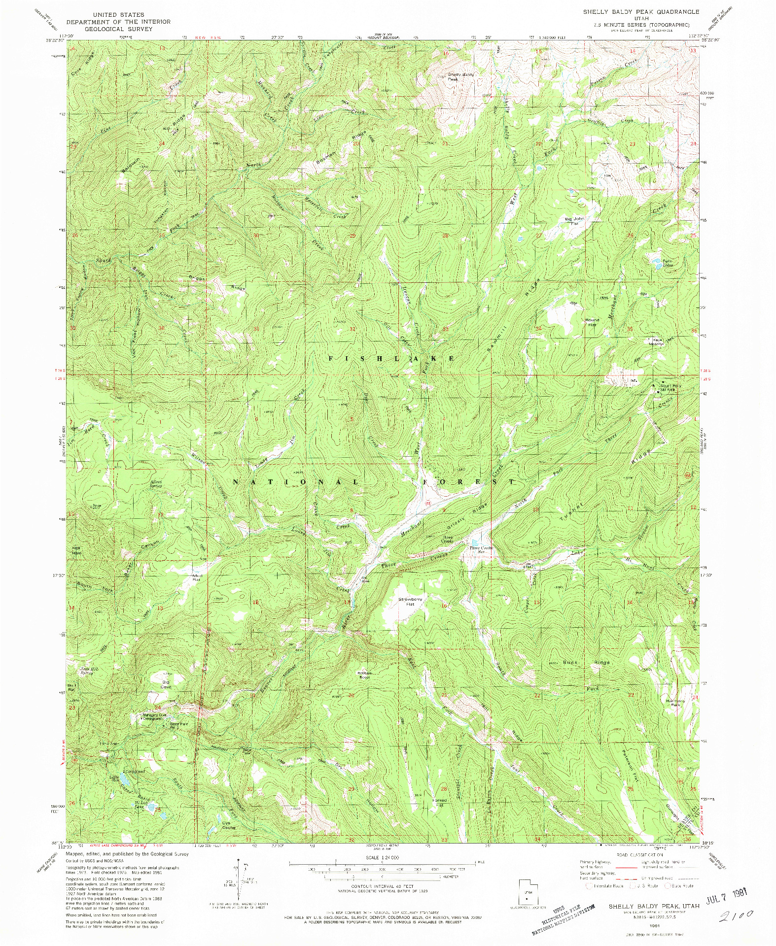 USGS 1:24000-SCALE QUADRANGLE FOR SHELLY BALDY PEAK, UT 1981