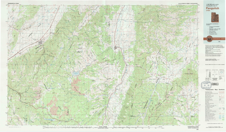 USGS 1:100000-SCALE QUADRANGLE FOR PANGUITCH, UT 1980
