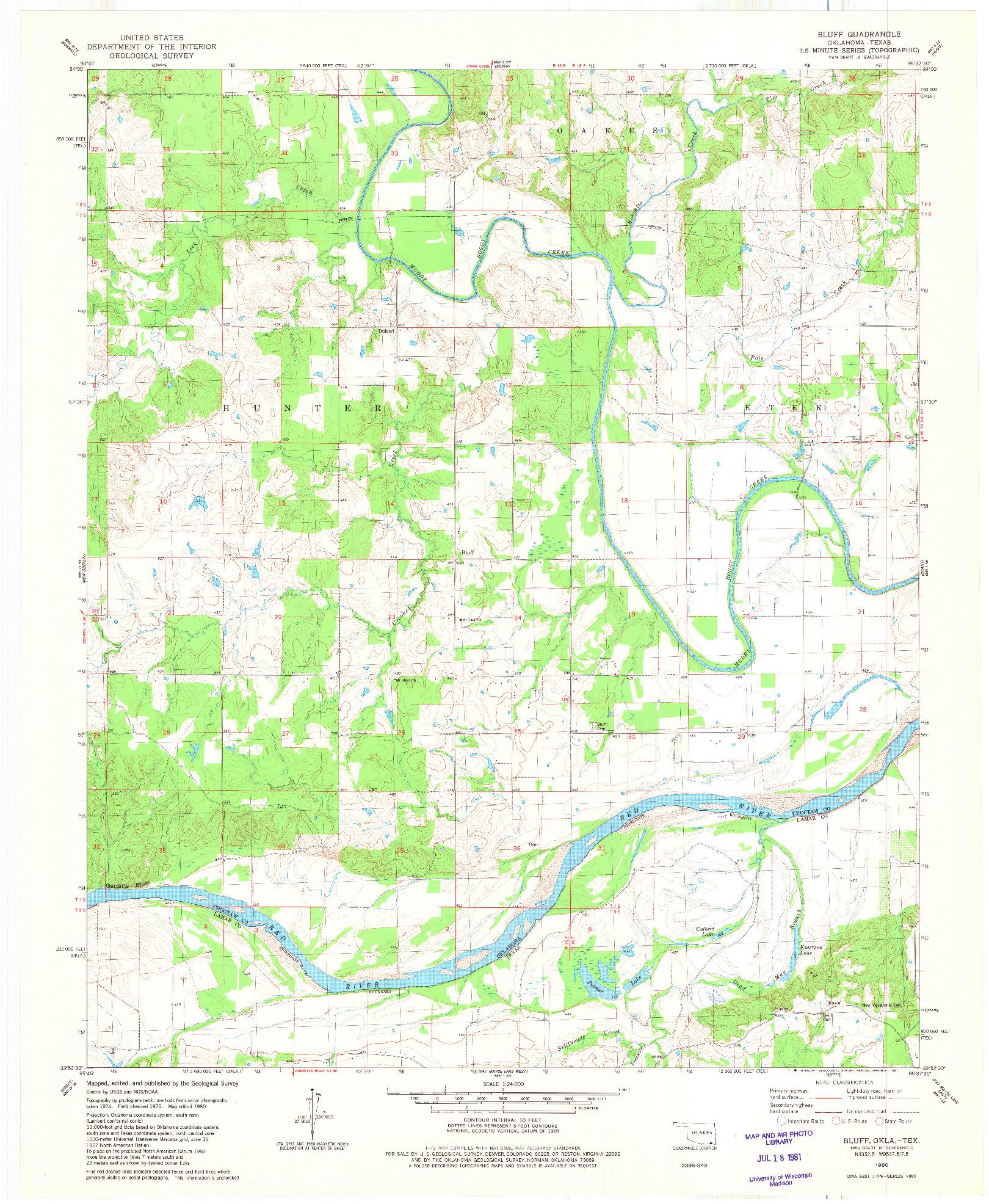 USGS 1:24000-SCALE QUADRANGLE FOR BLUFF, OK 1980