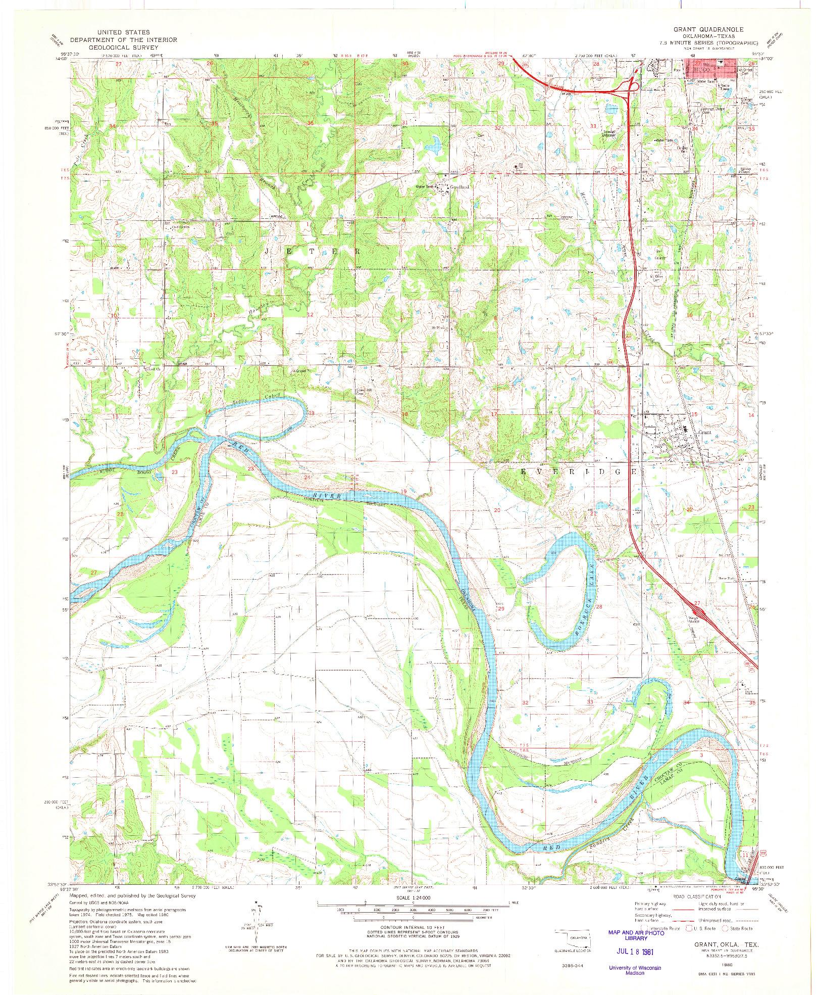USGS 1:24000-SCALE QUADRANGLE FOR GRANT, OK 1980