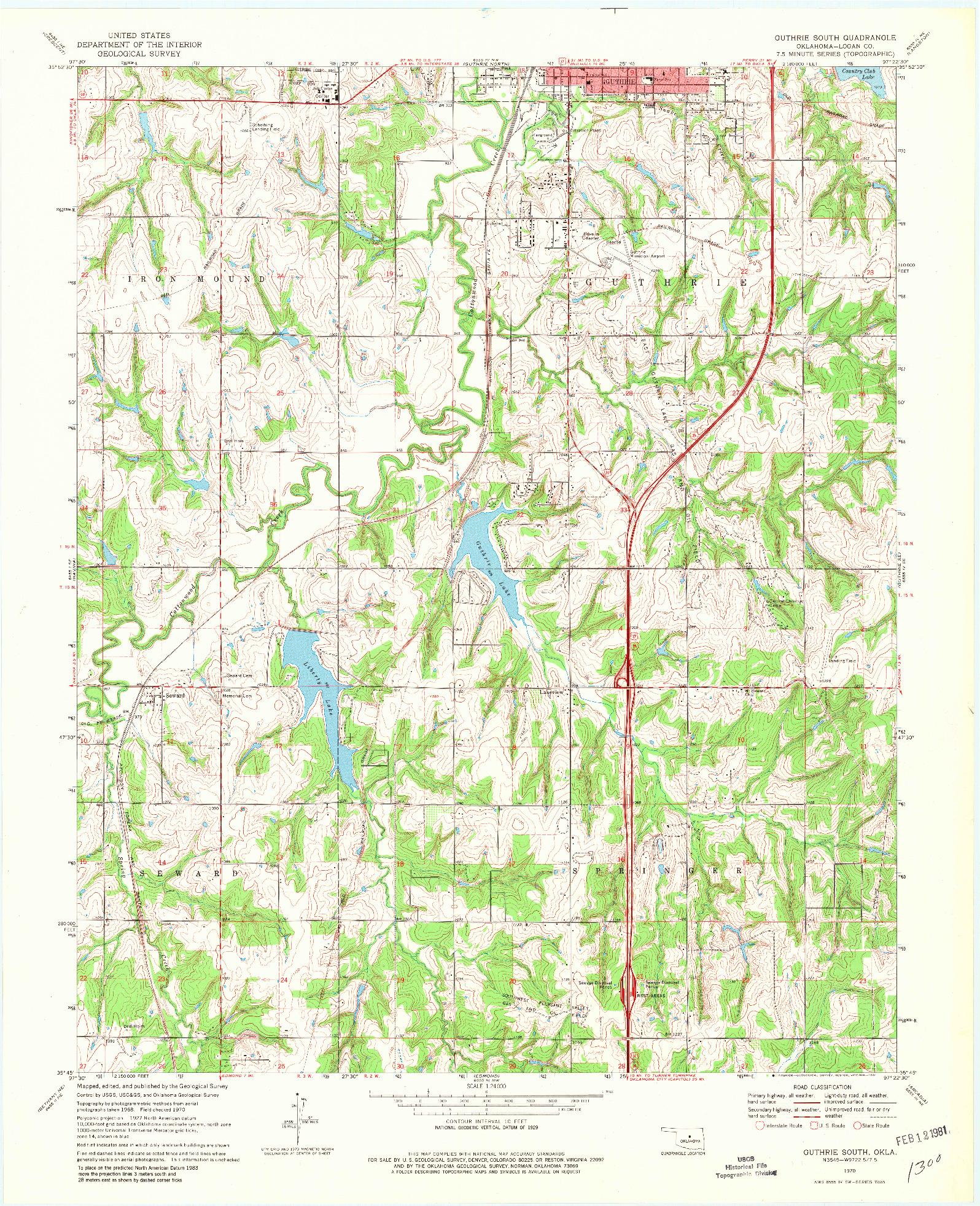 USGS 1:24000-SCALE QUADRANGLE FOR GUTHRIE SOUTH, OK 1970