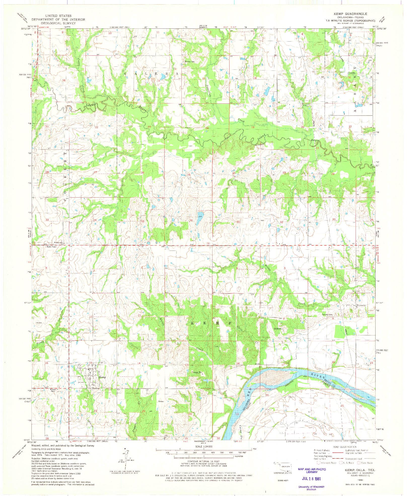 USGS 1:24000-SCALE QUADRANGLE FOR KEMP, OK 1980